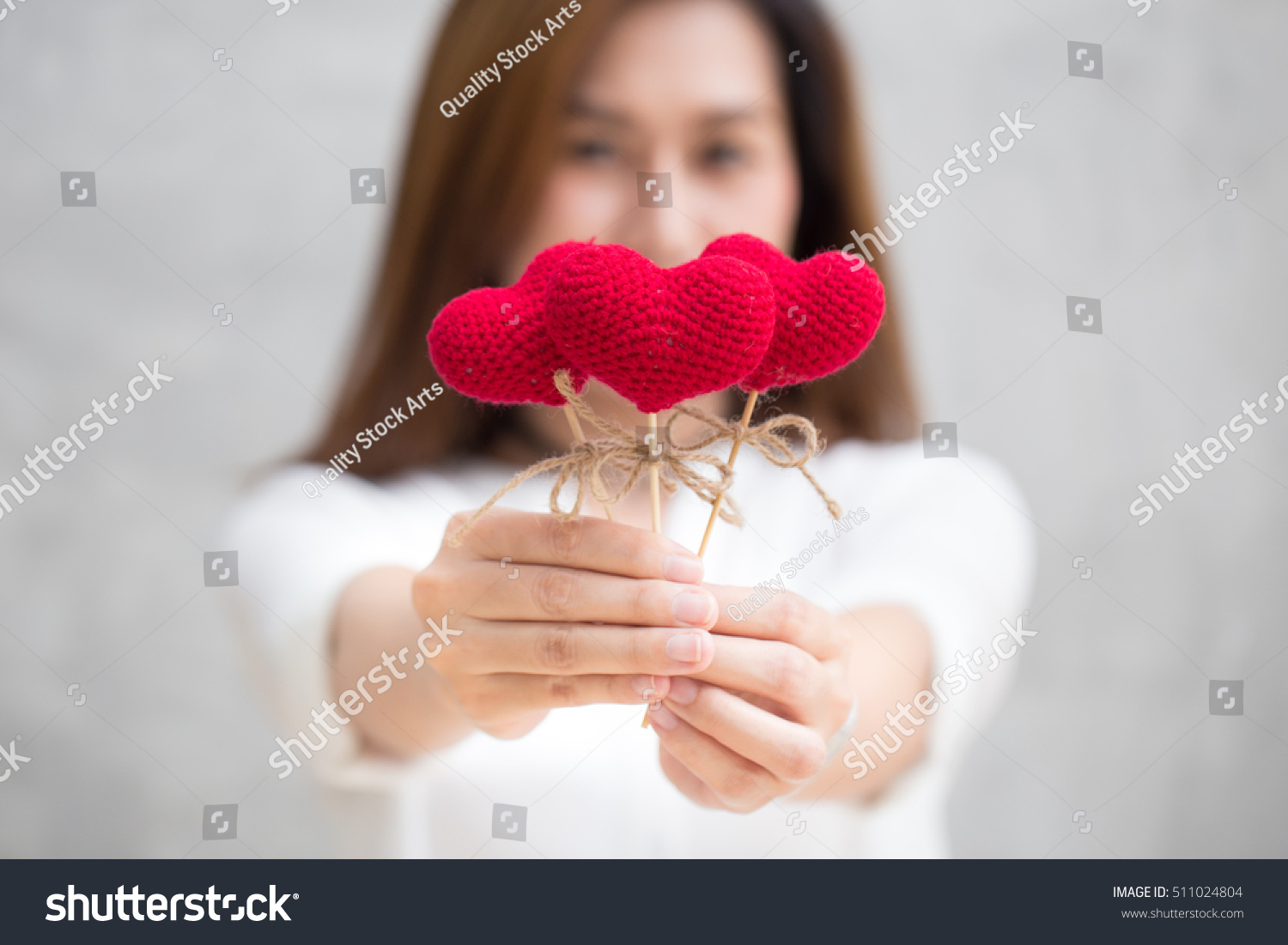Giving Love Gift Asian Woman Hand Stock Photo 511024804