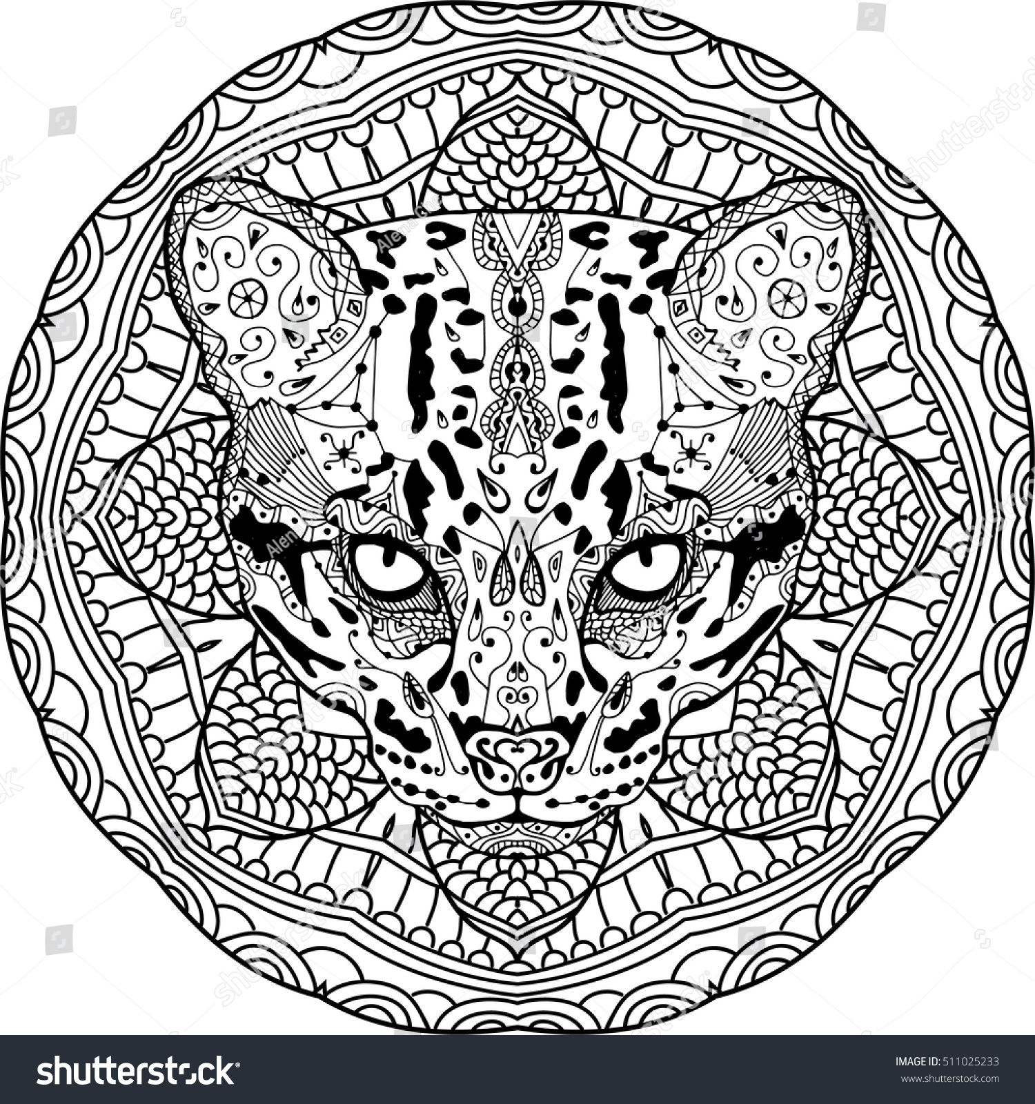 Painted Wild Cat On Background Tribal Stock Vector ...