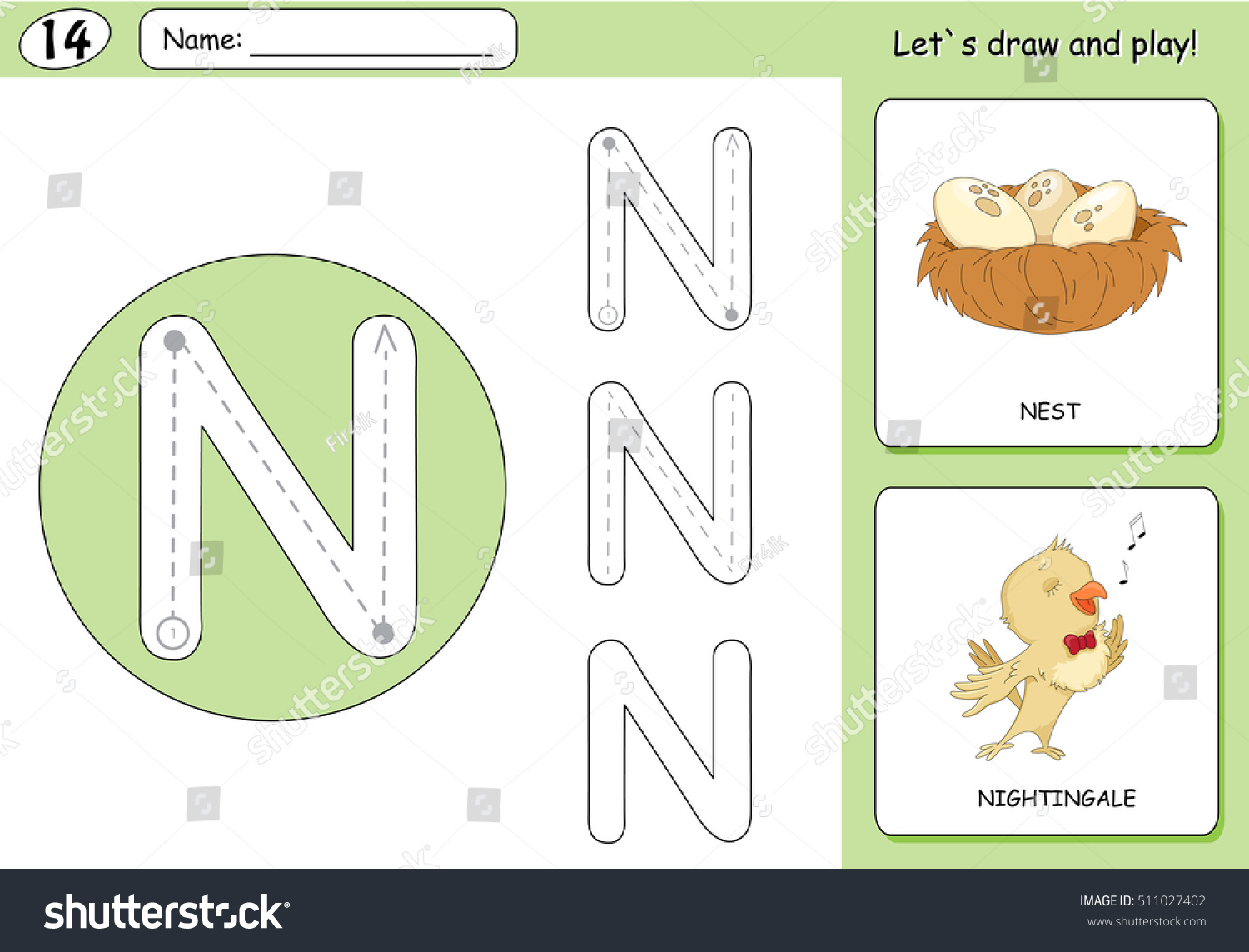 Cartoon Nightingale Nest Alphabet Tracing Worksheet Stock ...