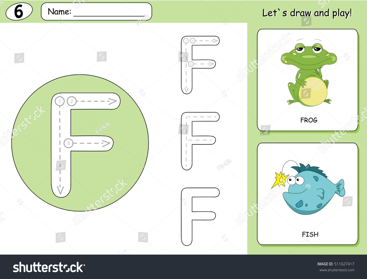 Cartoon Frog Fish Alphabet Tracing Worksheet Stock Illustration ...