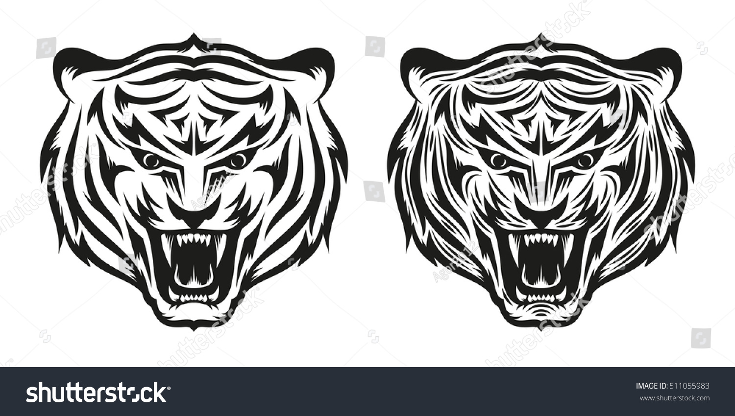 Head Of Growling Tiger Tattoo In Two Versions A Simple And Detailed Vector  Illustration How To