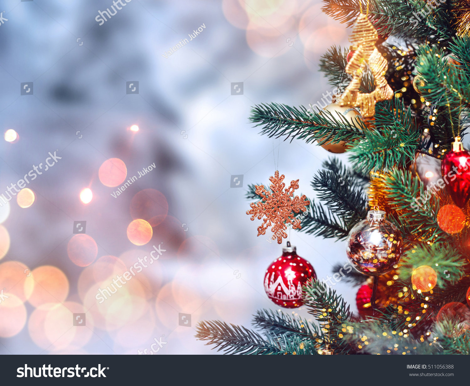 Christmas Tree Background Christmas Decorations Snow Stock