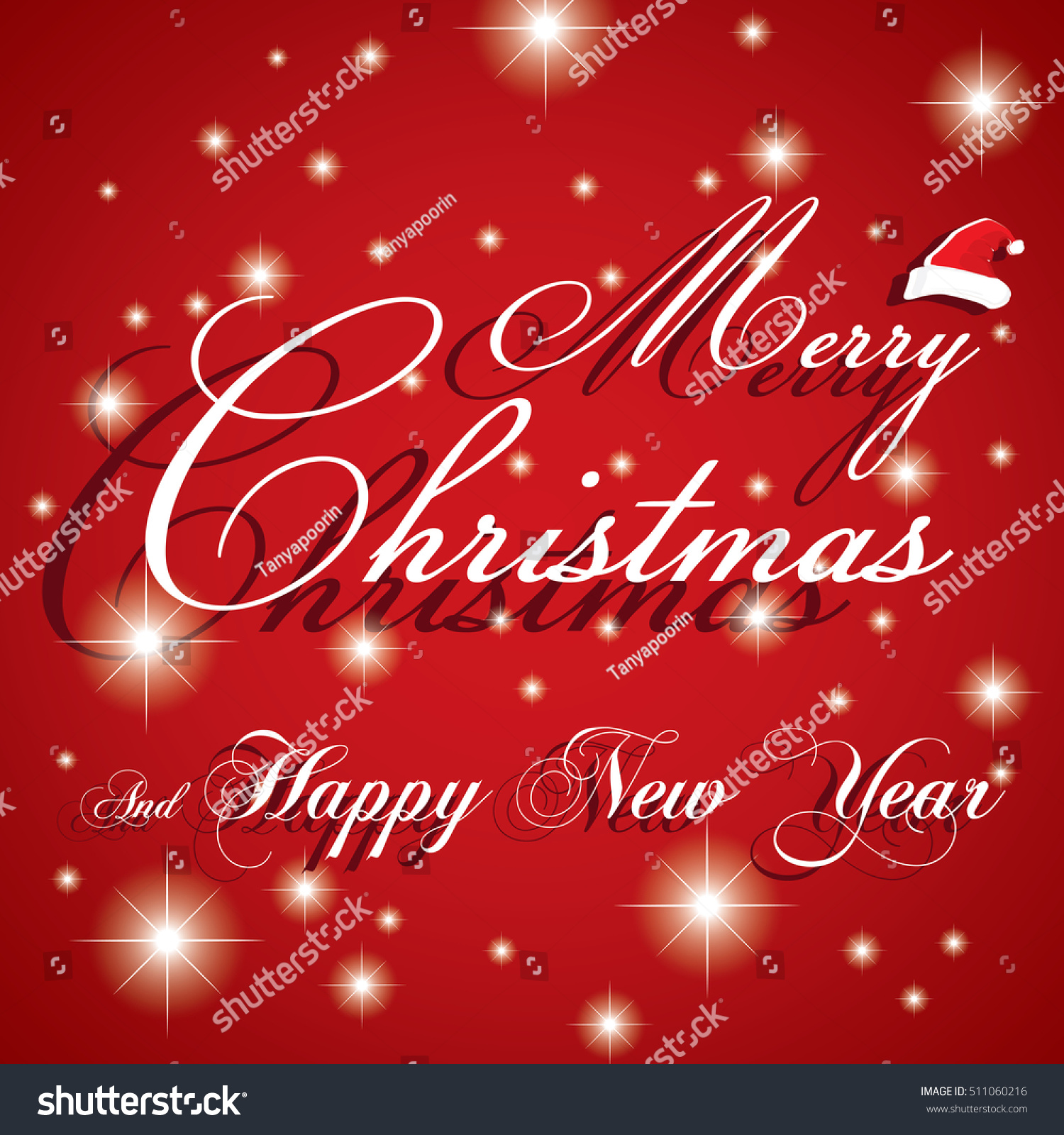 Merry christmas happy new year card stock vector 511060216 merry christmas and happy new year card on white star and red background m4hsunfo