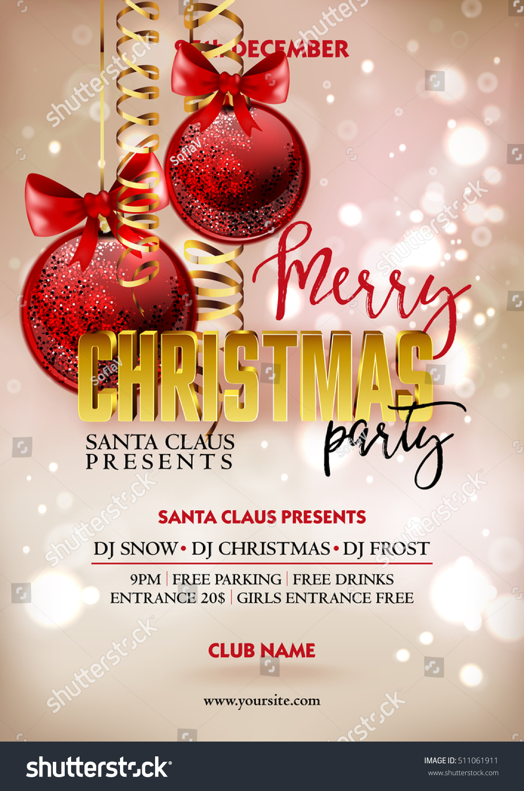 Merry Christmas Party Poster Design Template Stock Vector 511061911