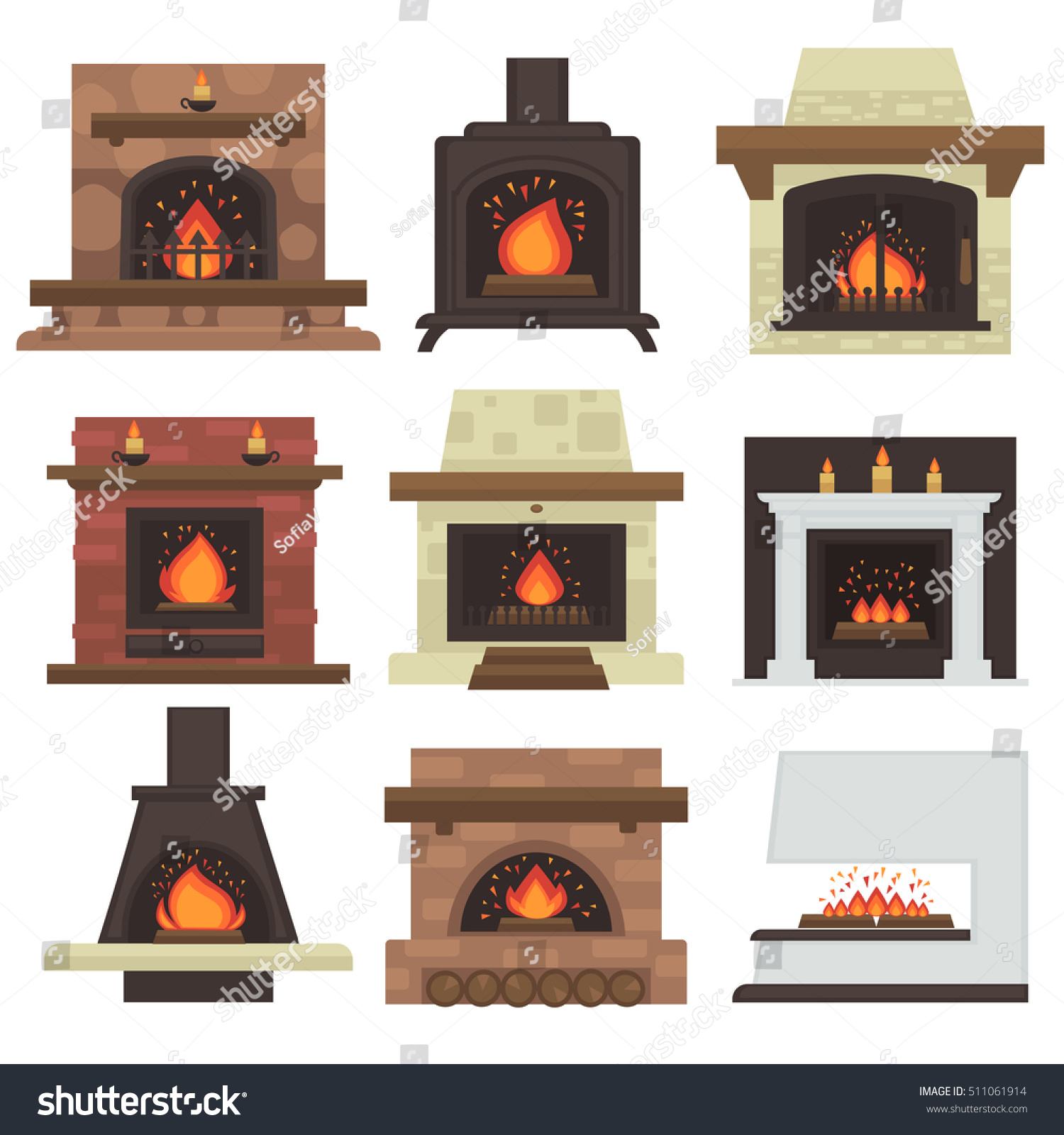 vector set home fireplaces fire different stock vector 511061914