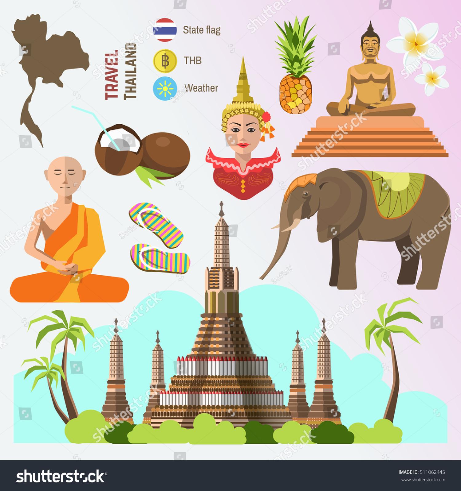 Set Thailand Travel Symbols Bangkok Landmarks Stock Vector Royalty