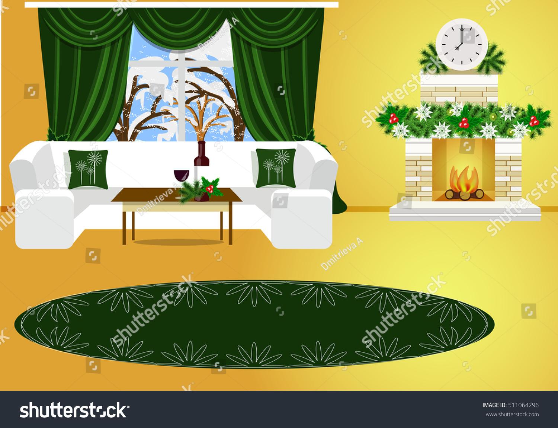 Christmas Room Interior Cozy Living Room Stock Vector Royalty Free