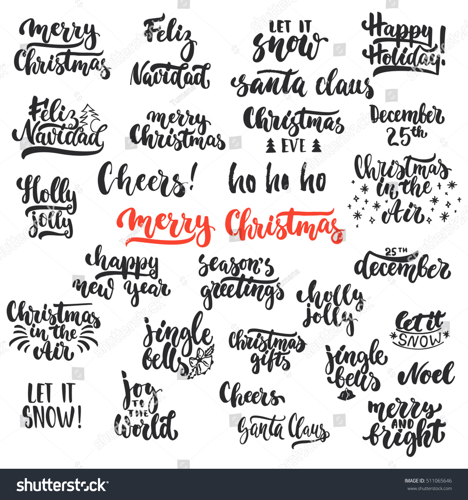 Lettering Christmas New Year Holiday Calligraphy Stock Vector ...
