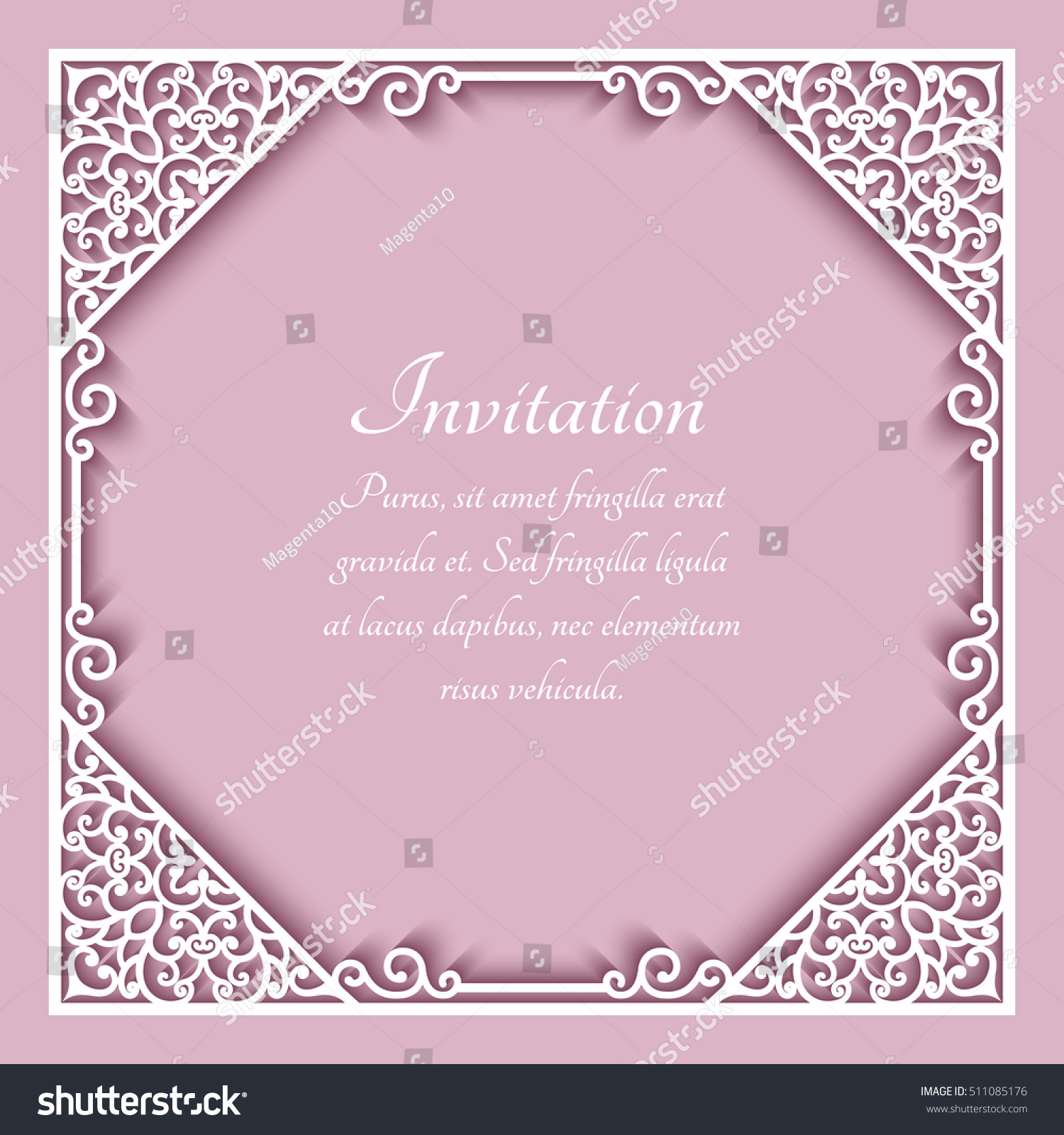 Square Cutout Paper Frame Lace Border Stock Vector 511085176 ...