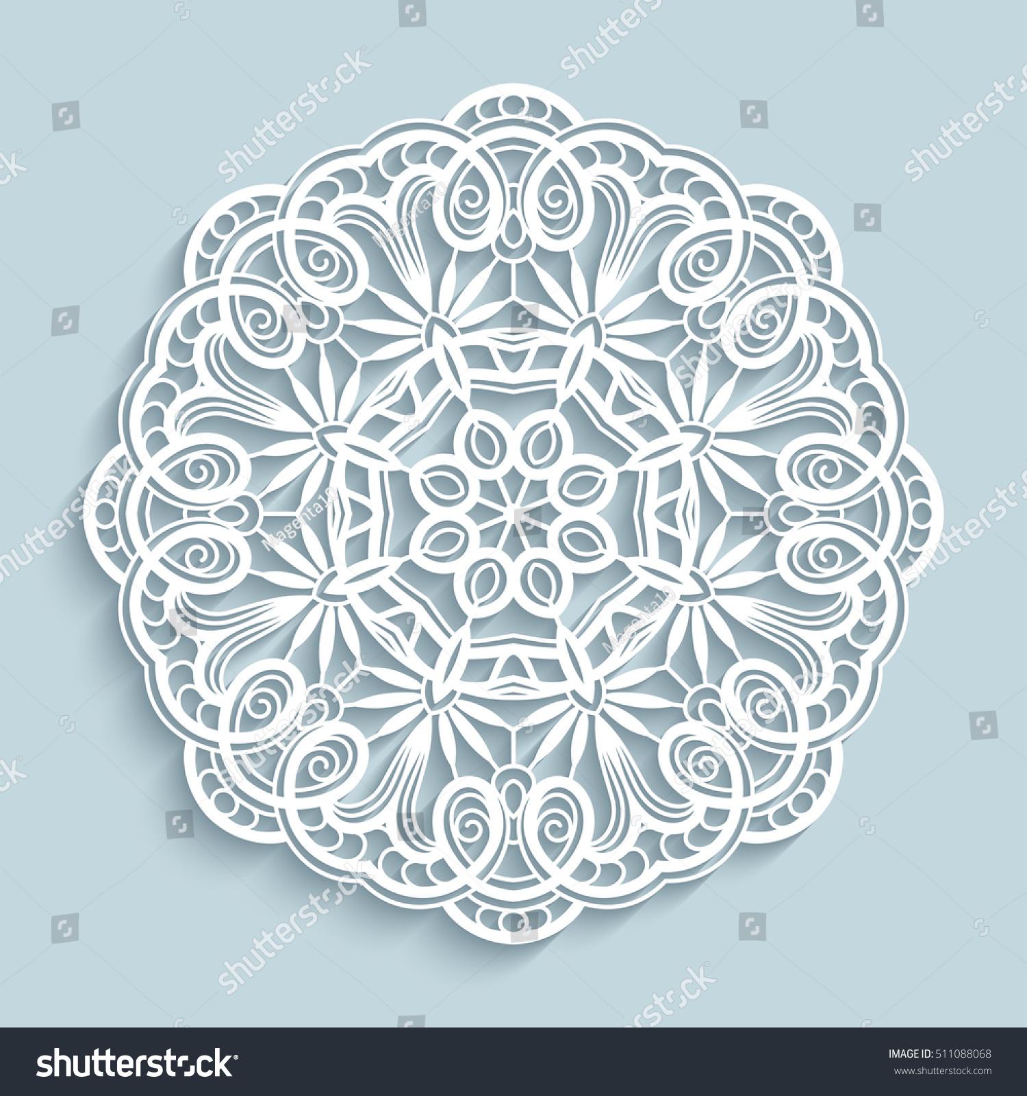 Round Cutout Paper Ornament Lace Doily Vector de stock511088068 ...