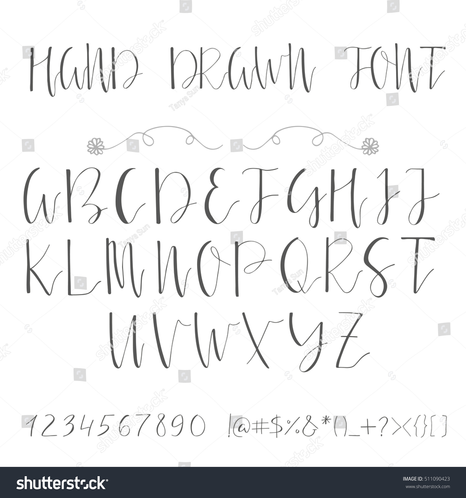 Handwritten Calligraphy Ink Font Unique Alphabet Stock