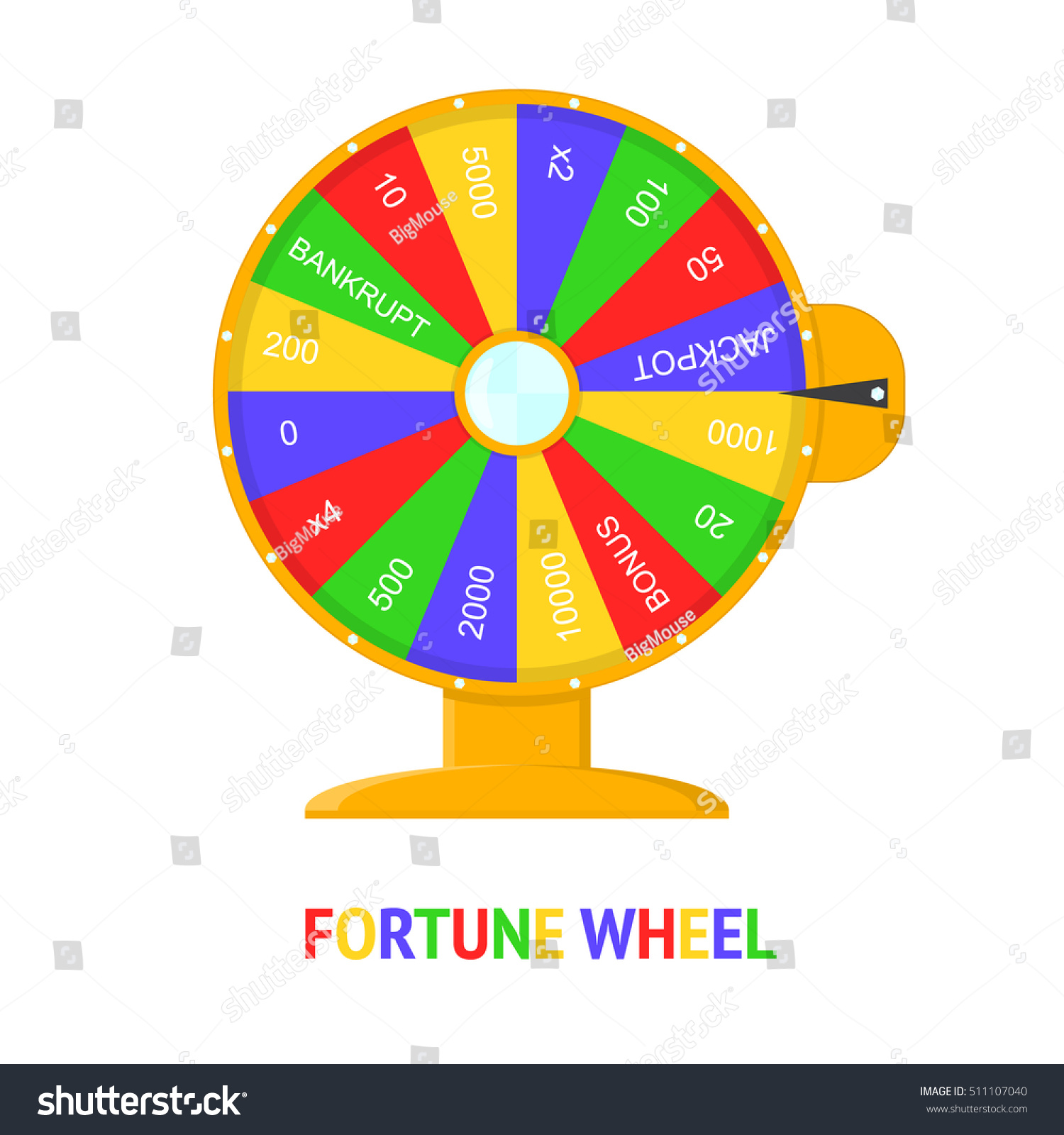 Color Wheel Fortune Flat Design Style Stock Vector Royalty Free