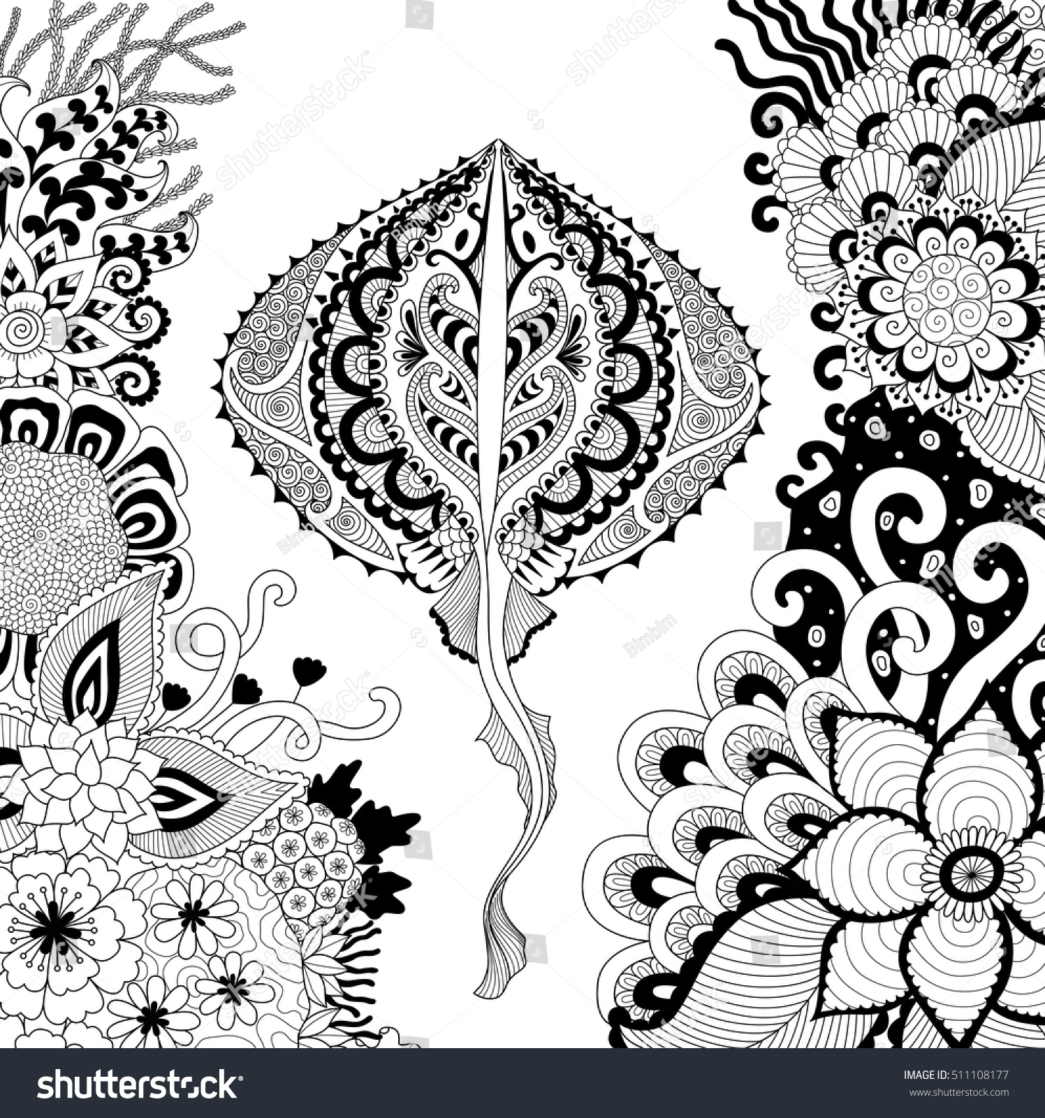 zendoodle design stingray swimming among beautiful stock vector