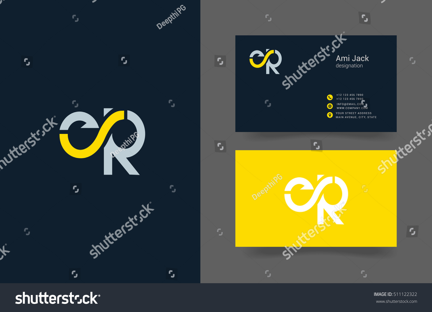 E r letter logo business card stock vector hd royalty free e r letter logo with business card thecheapjerseys Gallery