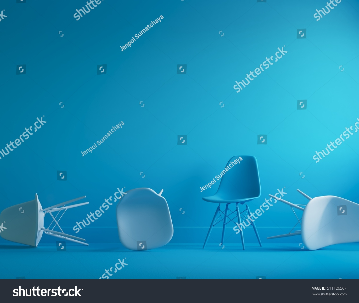Modern blue chair standing interior empty stock photo for Minimal space