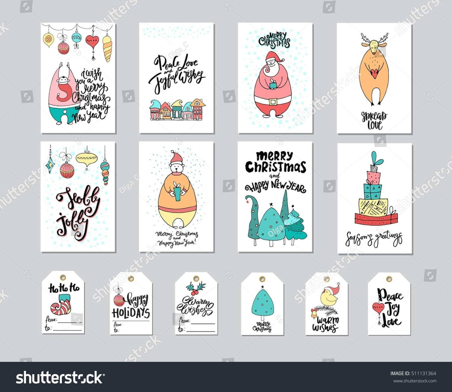 Merry Christmas Greeting Card Gift Tag Stock Vector (2018) 511131364 ...