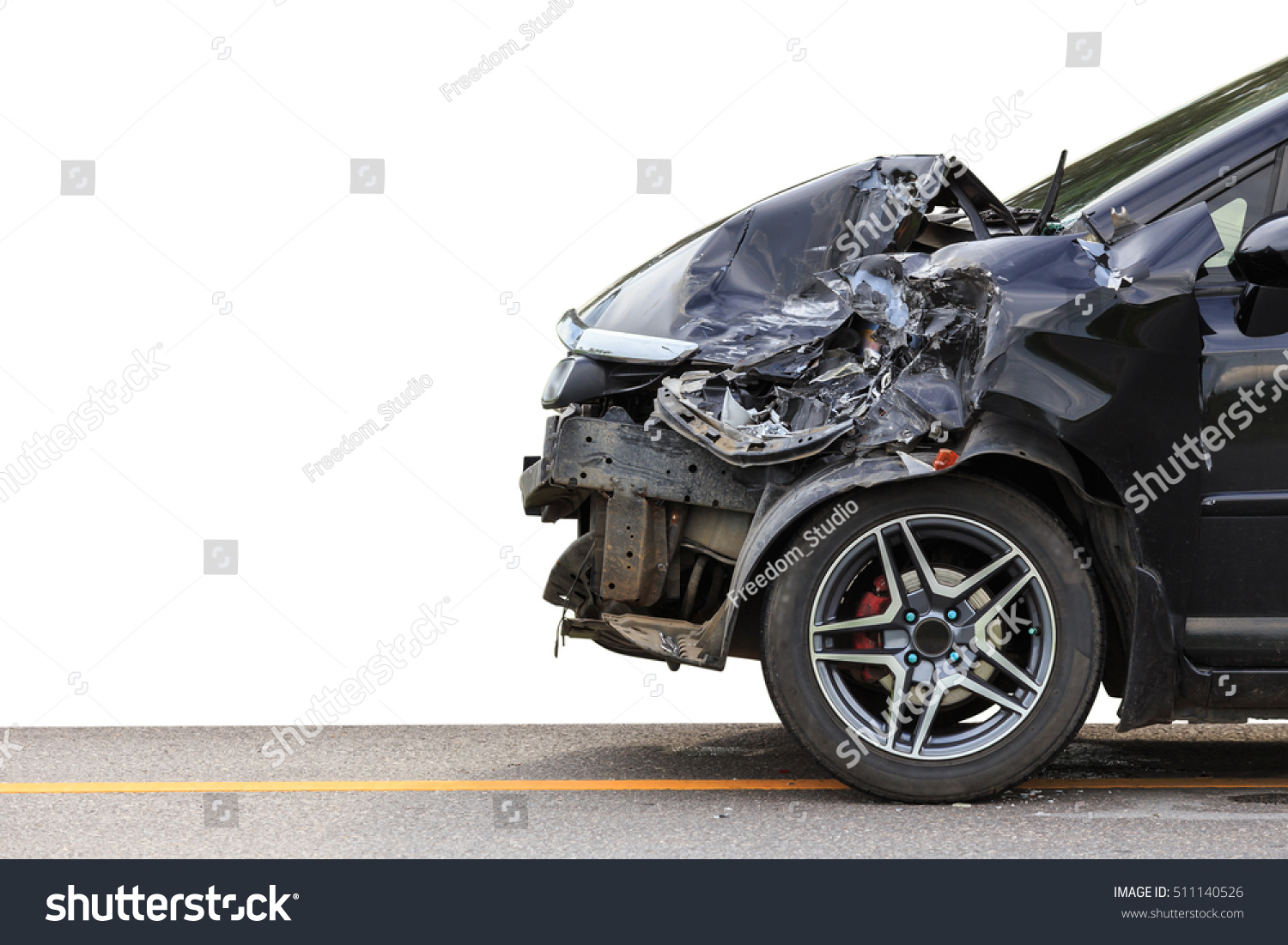 Front Black Car Get Damaged By Stock Photo 511140526 Shutterstock