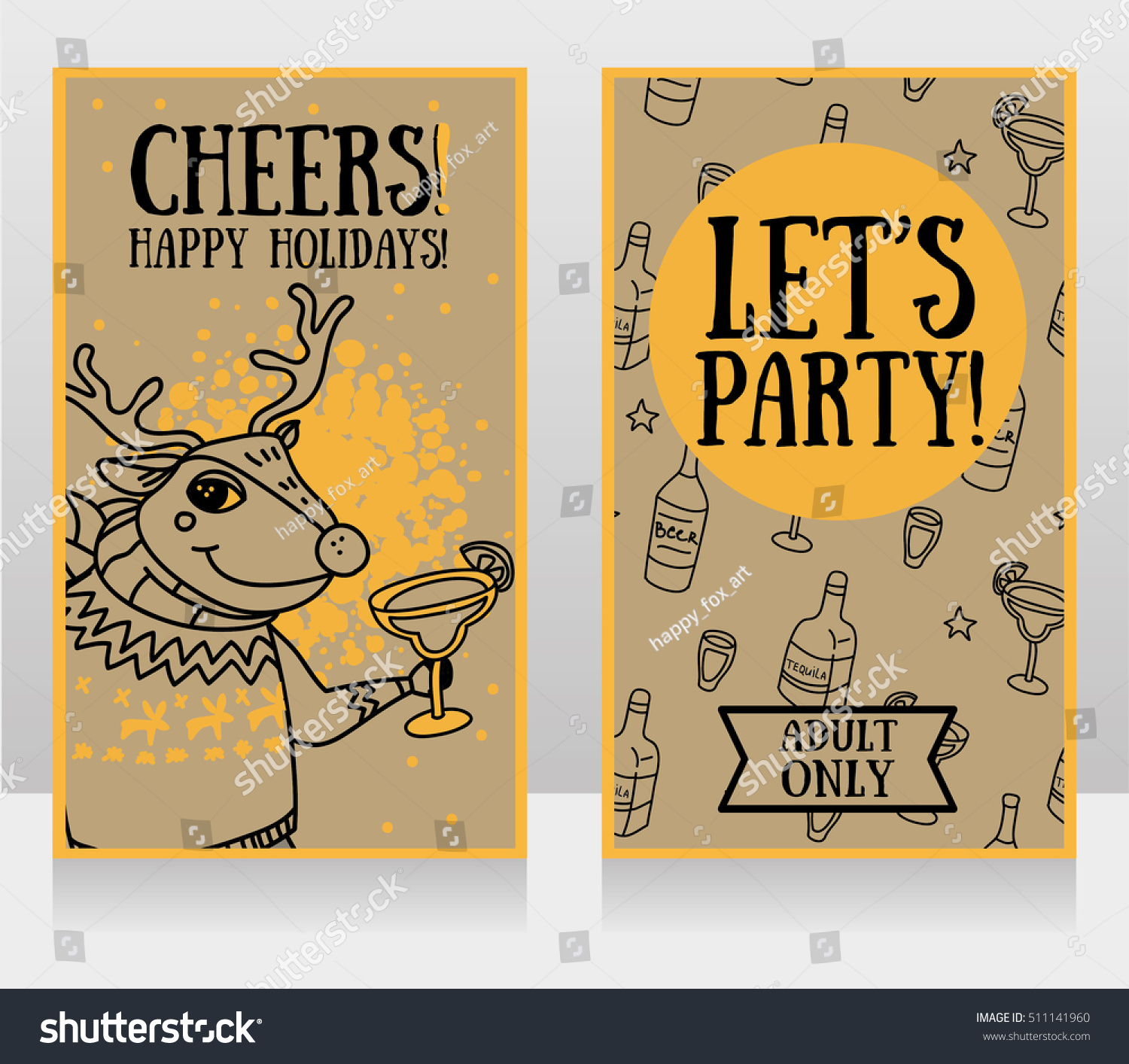 Templates Party Invitations Christmas Deer Drinking Stock Vector ...