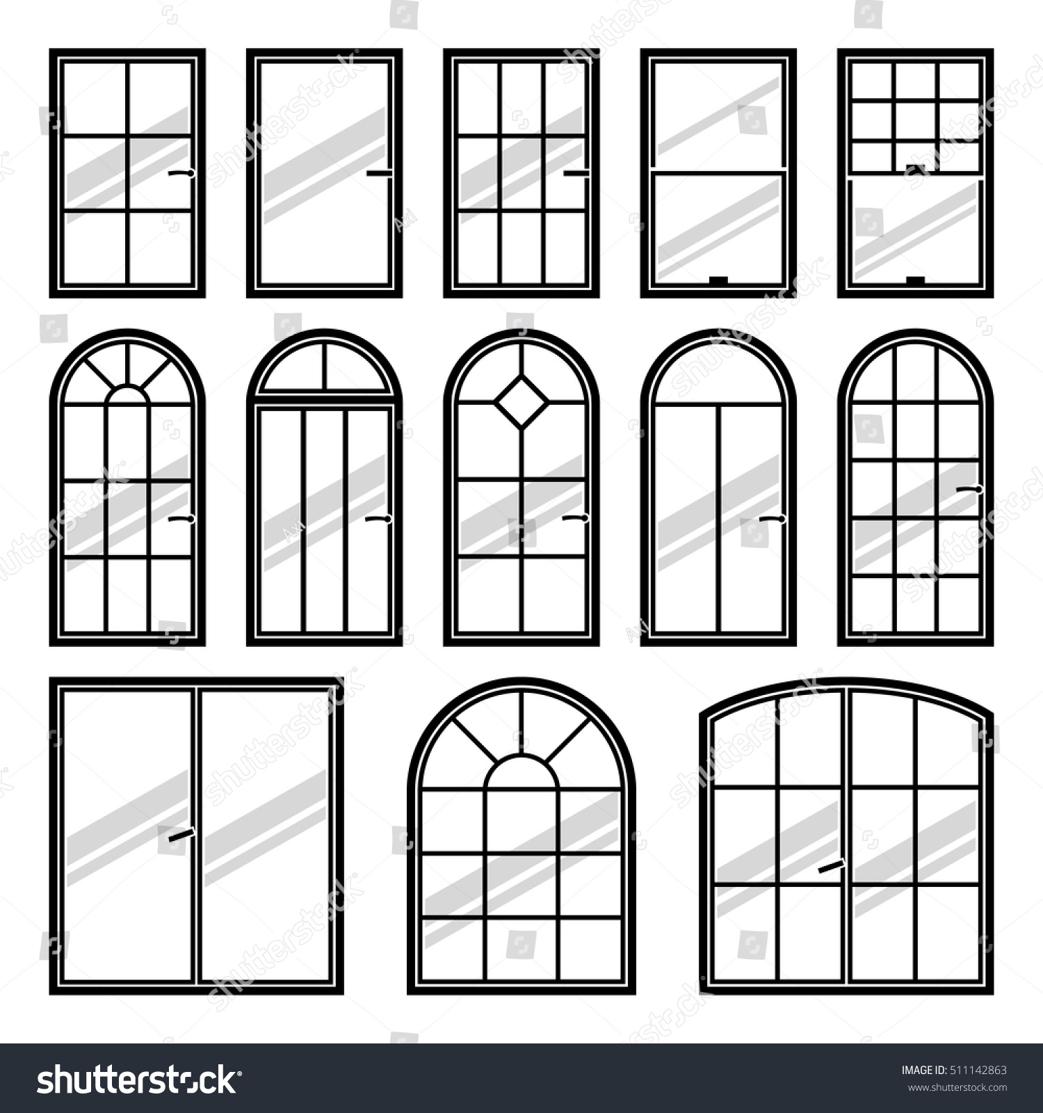 Window pane types - Vector Icons Set Of Different Types Of Windows