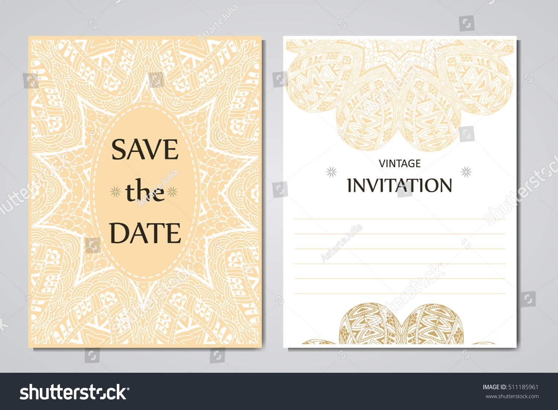 Wedding Card Collection Mandala Template Invitation Stock Photo ...