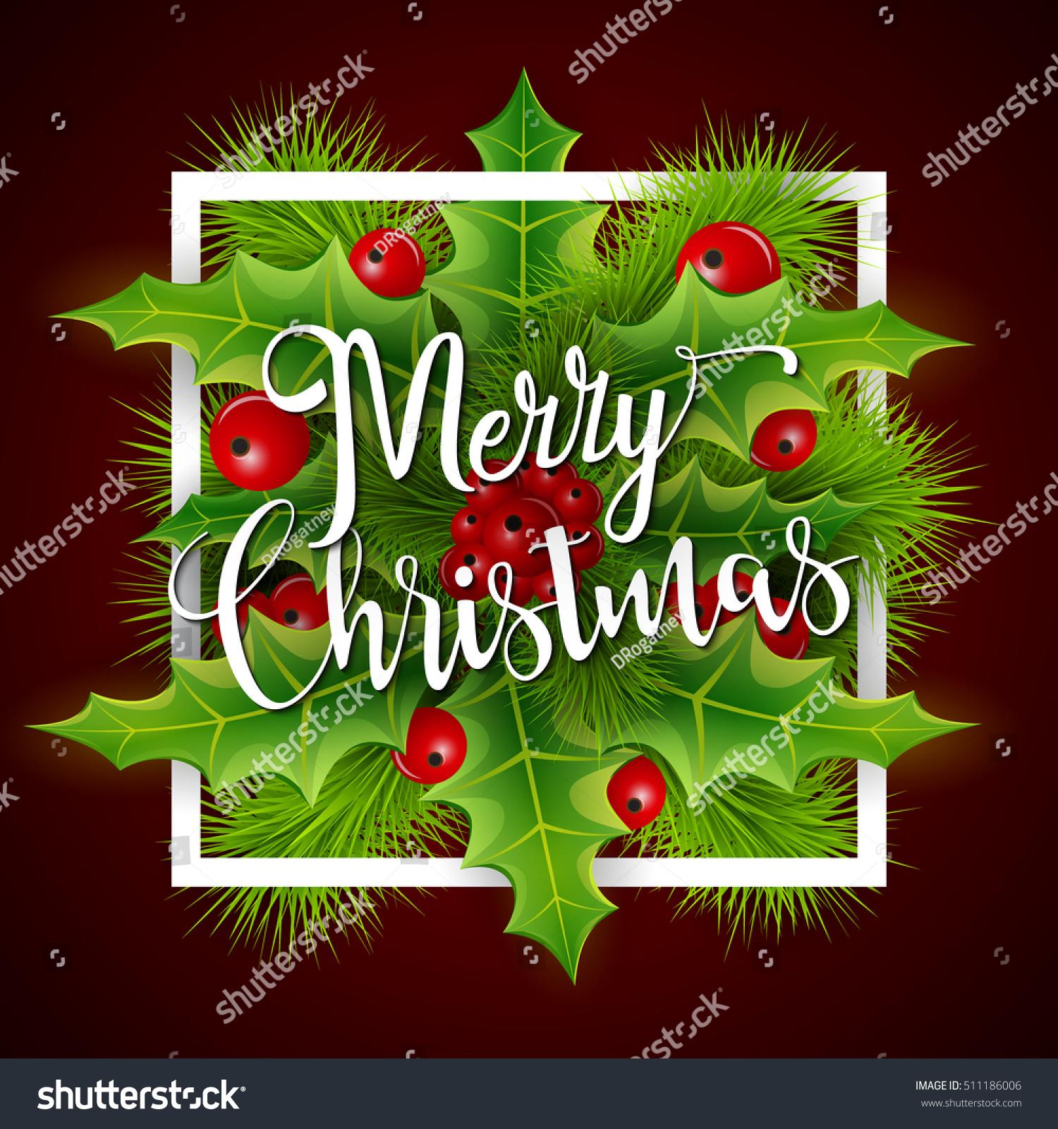 Merry Christmas Greetings Card Christmas Holly Stock Illustration