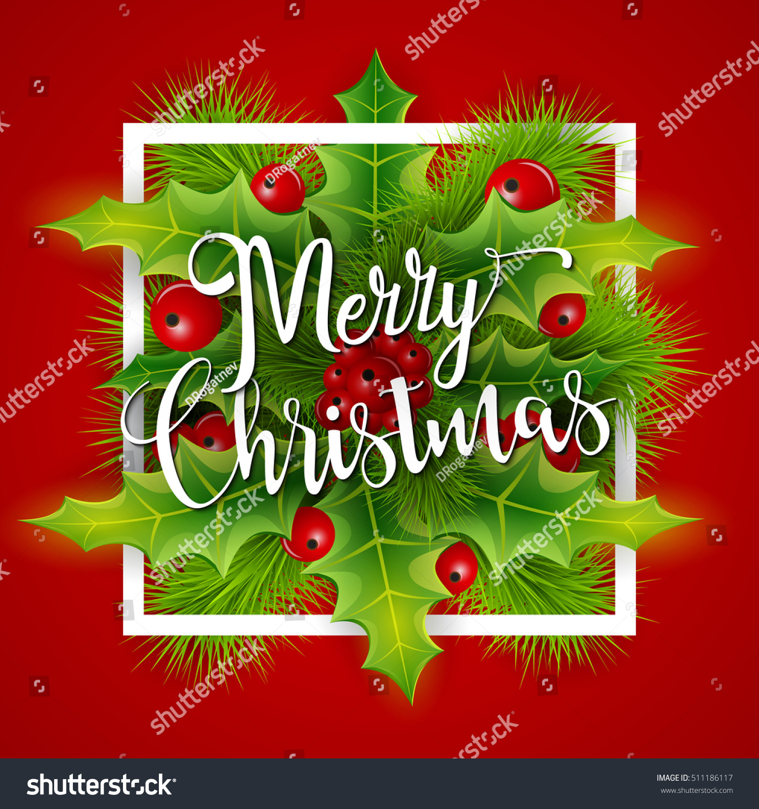 Merry Christmas Greetings Card Christmas Holly Stock Illustration