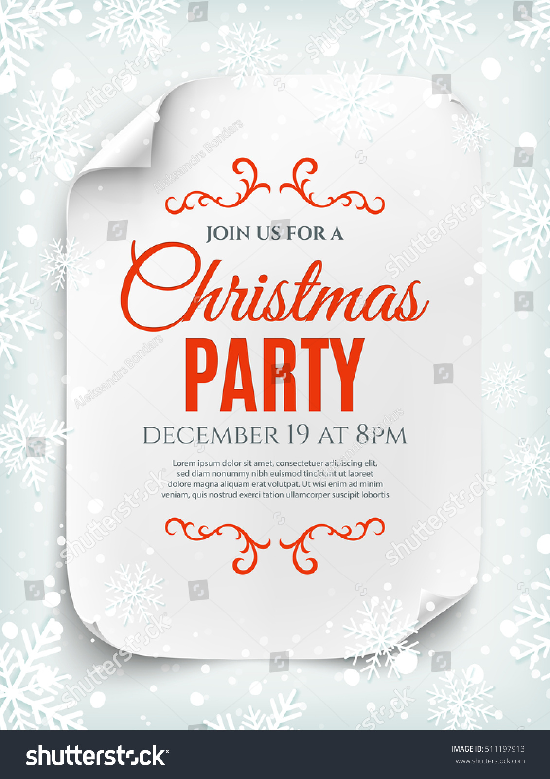 Christmas party invitation poster flyer brochure stock vector 2018 christmas party invitation poster flyer or brochure template curved paper banner scroll stopboris Image collections