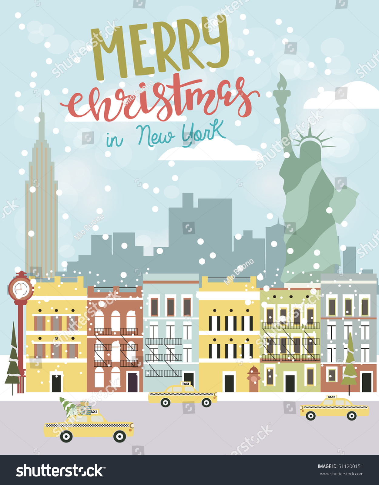 Christmas New York Greeting Card Vector Vector De Stock Libre De
