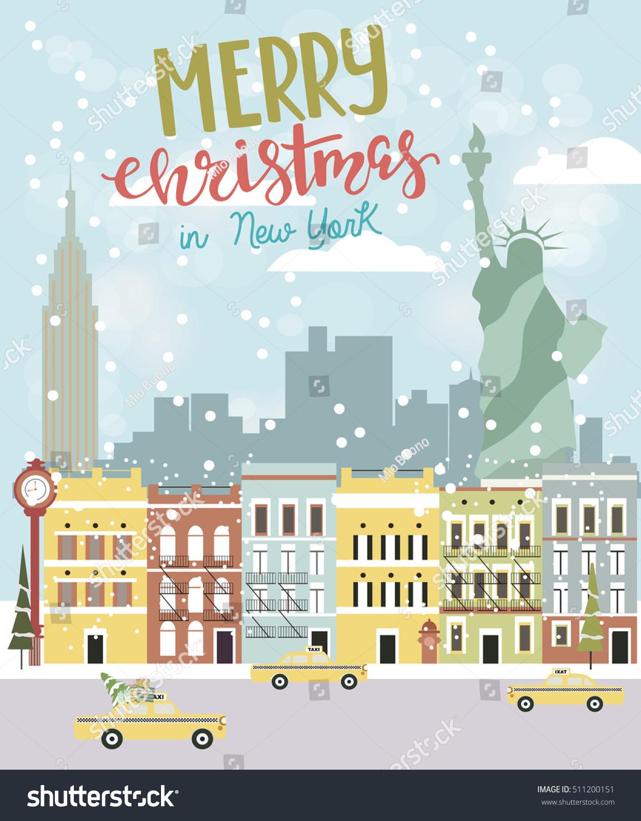 Christmas New York Greeting Card Vector Stock Vector 2018