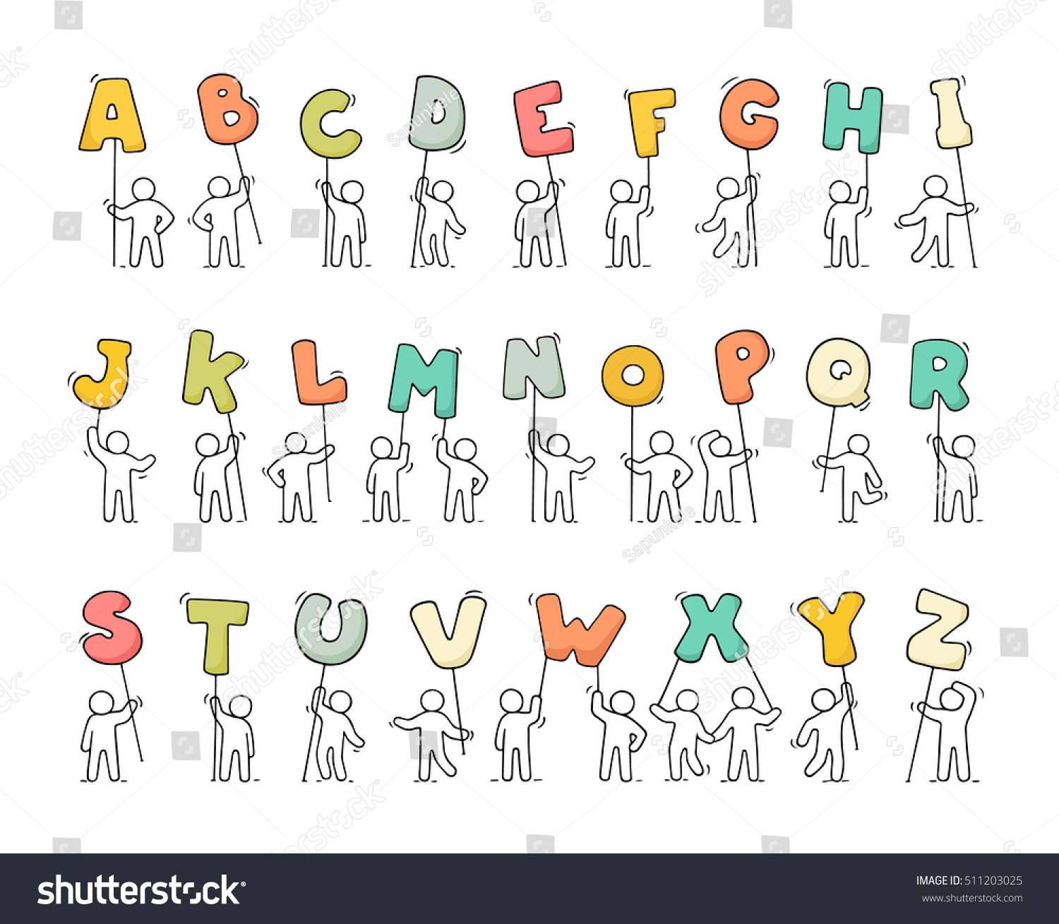 Cartoon Icons Set Sketch Little People Stock Vector (Royalty Free ...
