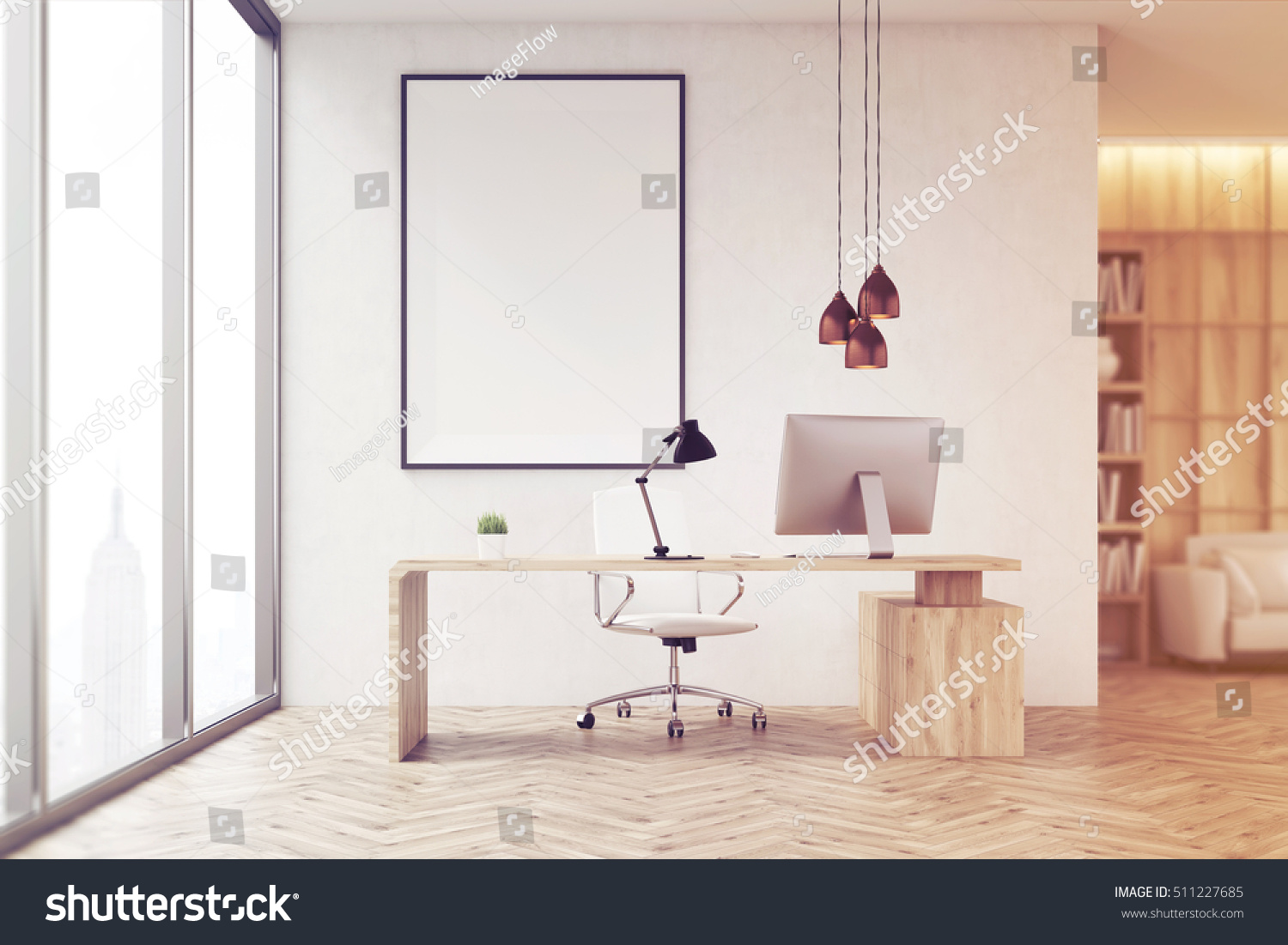 Front view ceo office bookcase sofa stock illustration 511227685 front view of ceo office with bookcase sofa table and large vertical poster on geotapseo Gallery