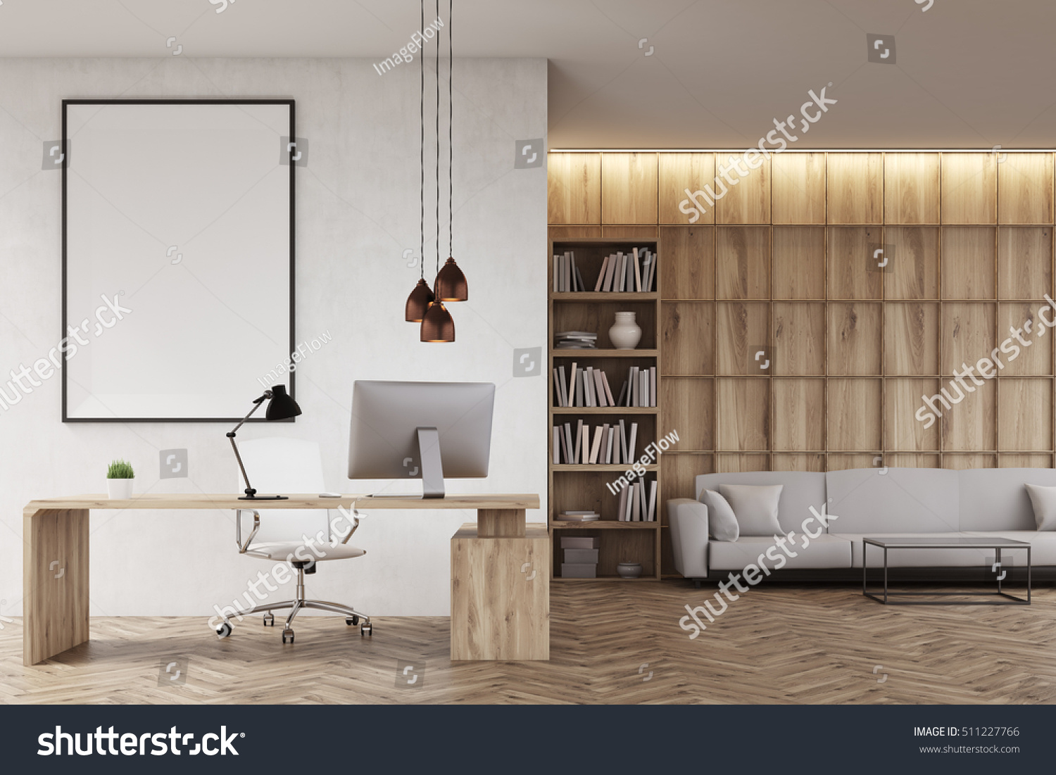 Ceo office bookcase sofa table large stock illustration 511227766 ceo office with bookcase sofa table and large vertical poster on concrete wall geotapseo Gallery