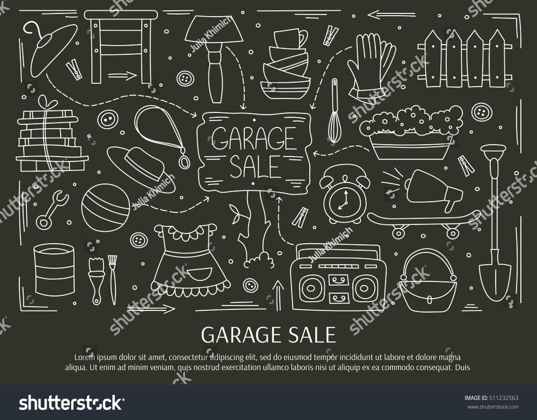 Garage Sale Household Used Goods Hand Stock Vector 511232563 ...