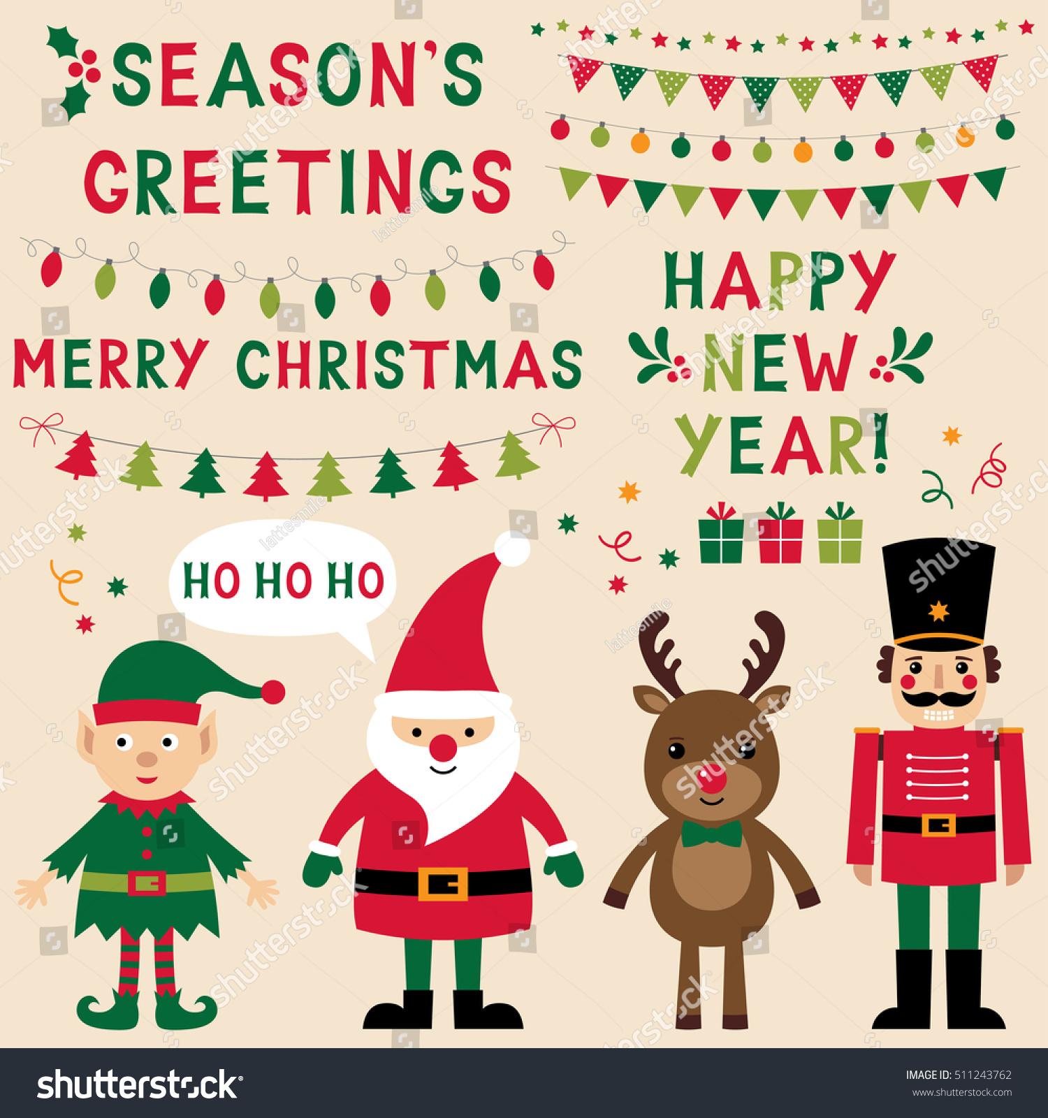 christmas vector characters santa elf reindeer stock vector