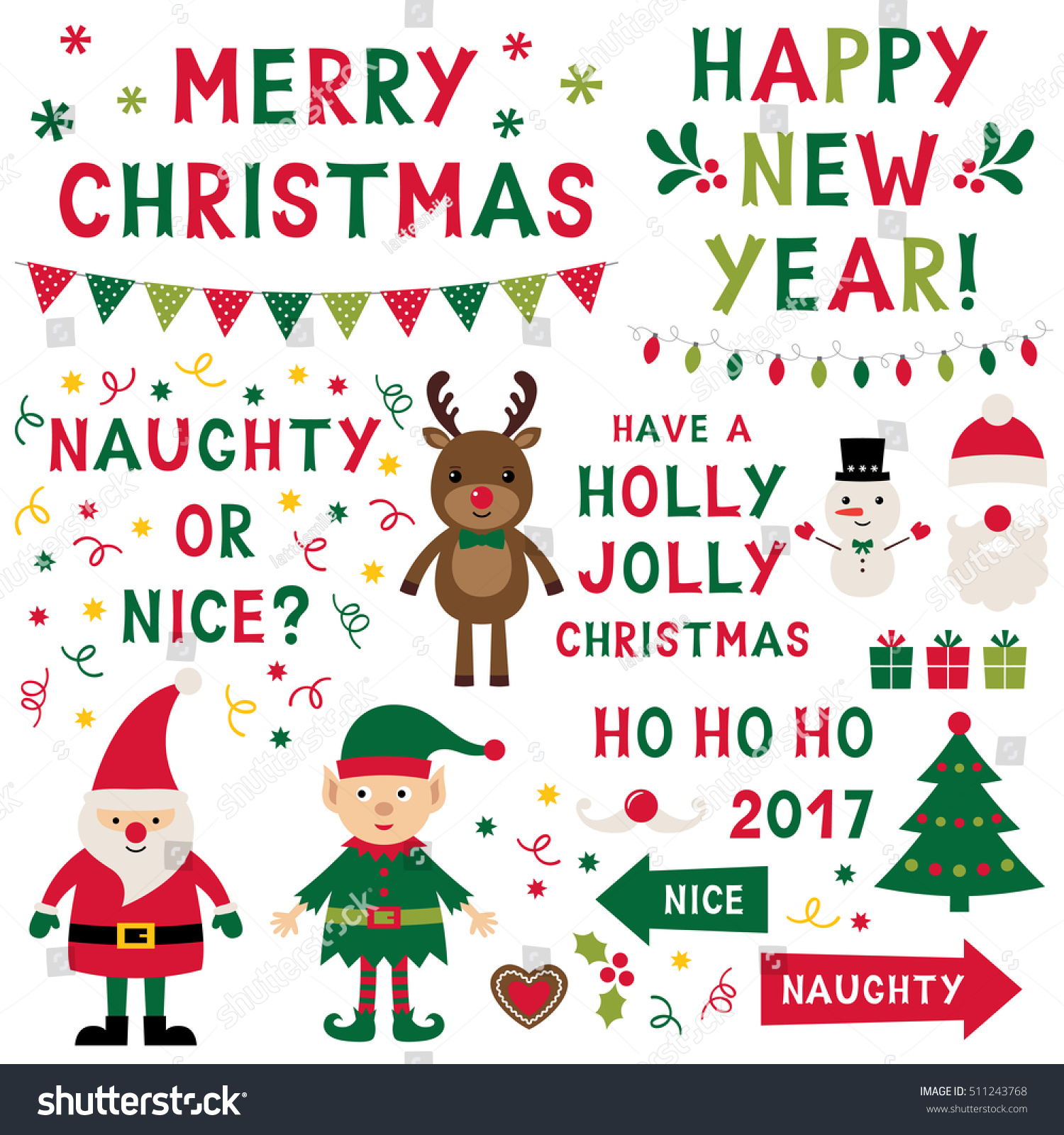 Christmas Isolated Vector Characters (santa, Elf, Reindeer) And Lettering  Set, Text