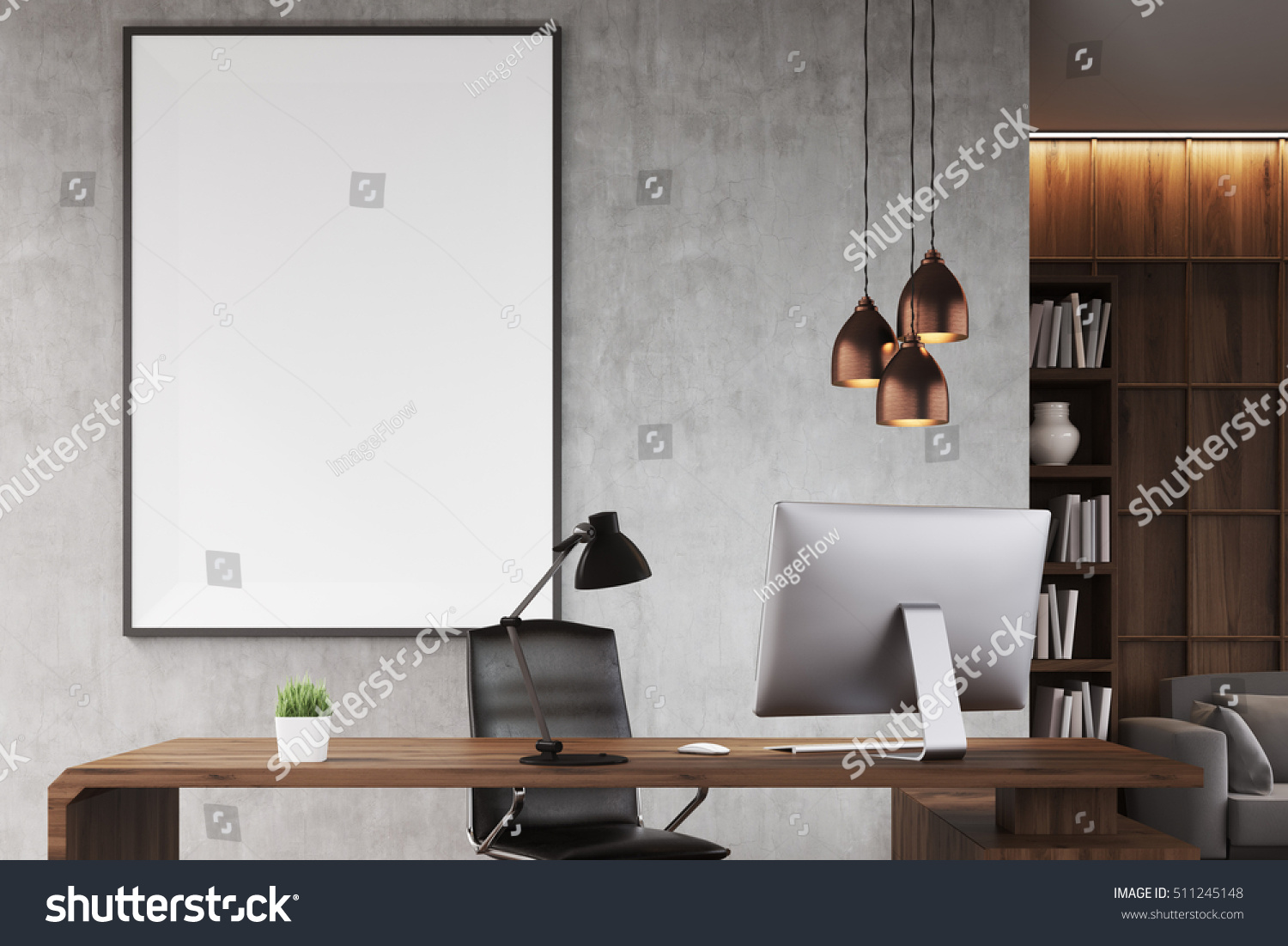 Poster ceo office bookcase sofa table stock illustration 511245148 poster in ceo office with bookcase sofa table and large vertical poster on concrete geotapseo Gallery