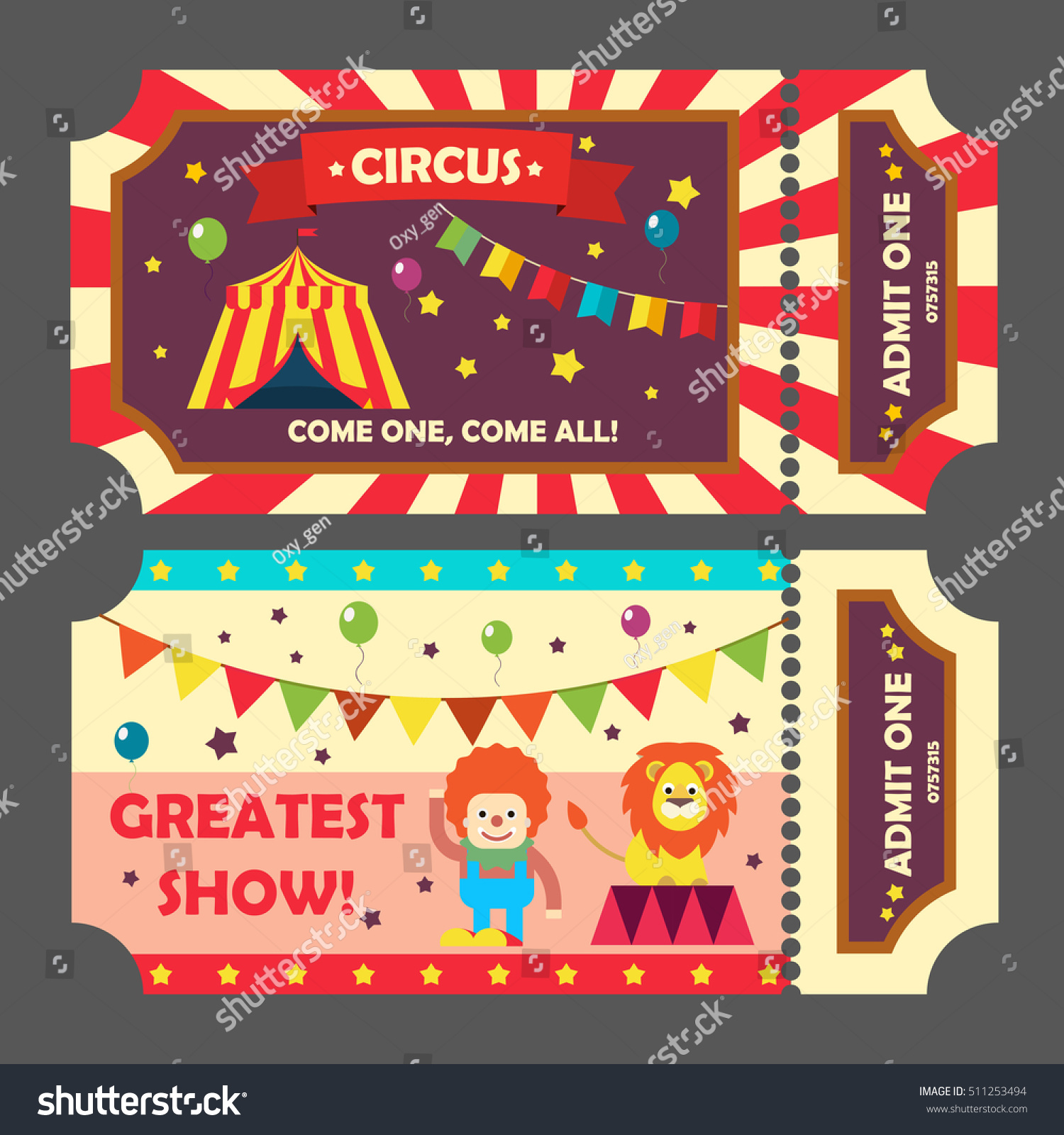 circus tickets set vector illustration magic stock vector royalty