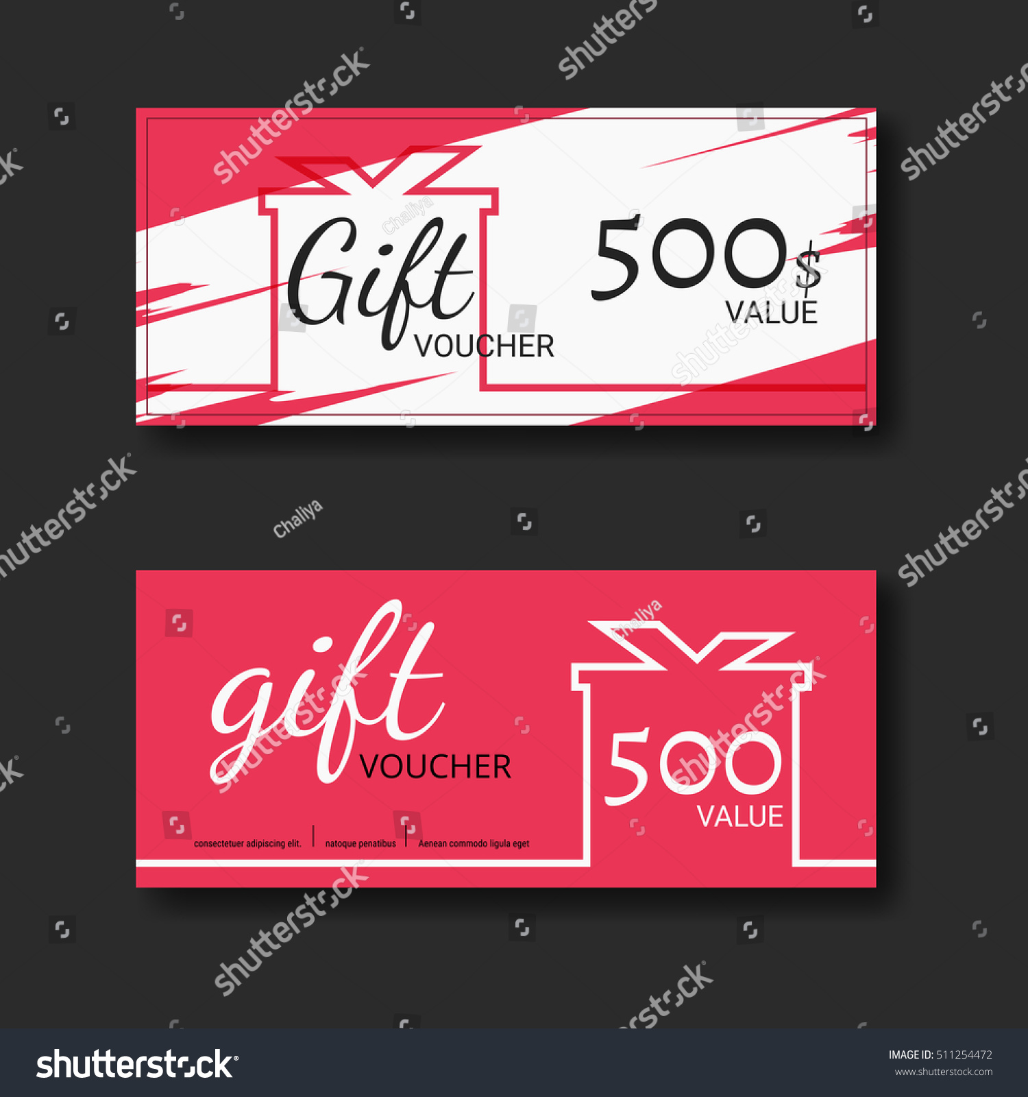 Gift Voucher Certificate Coupon Template Colorful Stock Vector ...