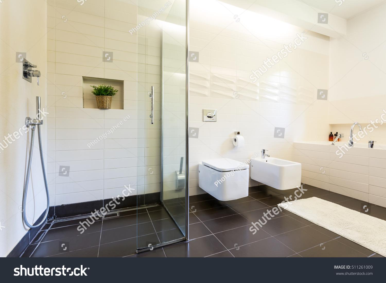 Tiled Bathroom Interior Toilet Urinal Rectangular Stock Photo ...