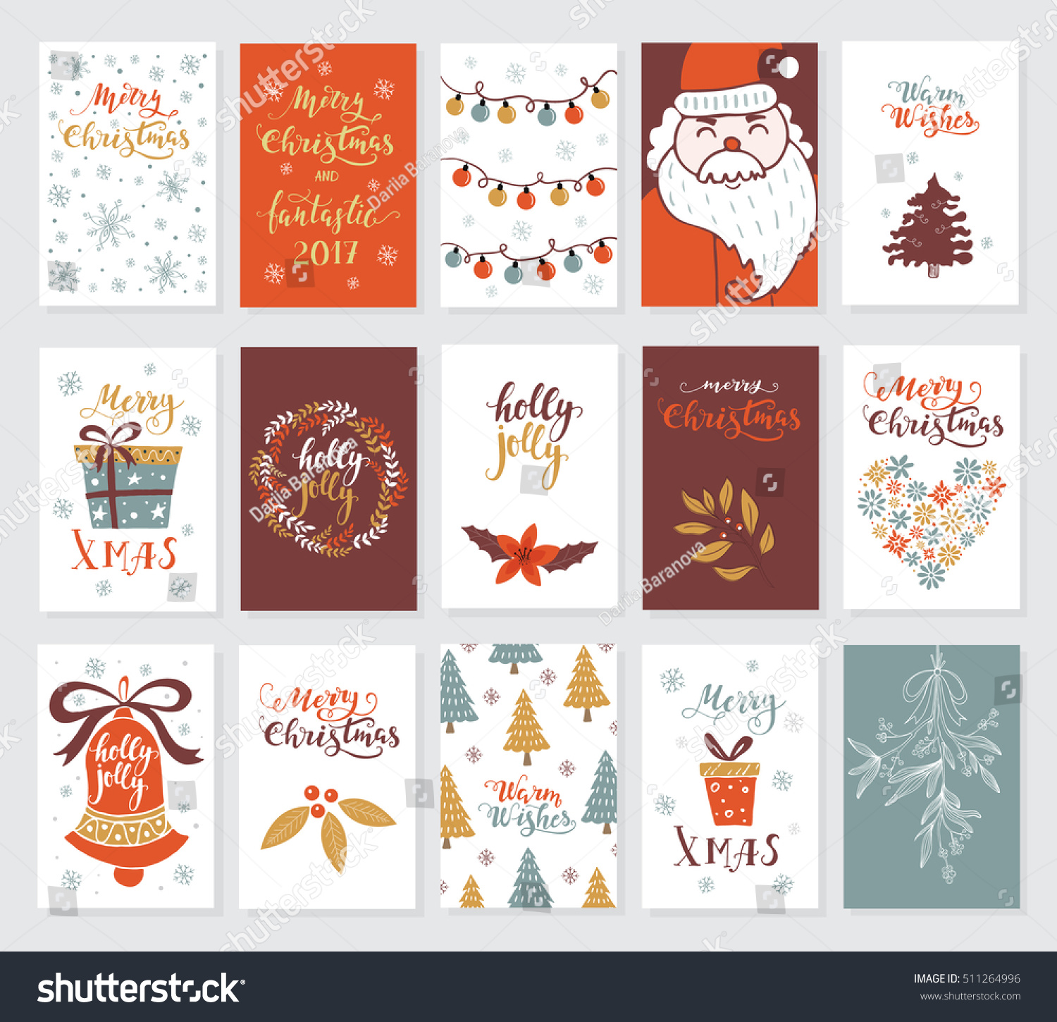 Vector Merry Christmas Greeting Cards Invitations Stock Vector ...