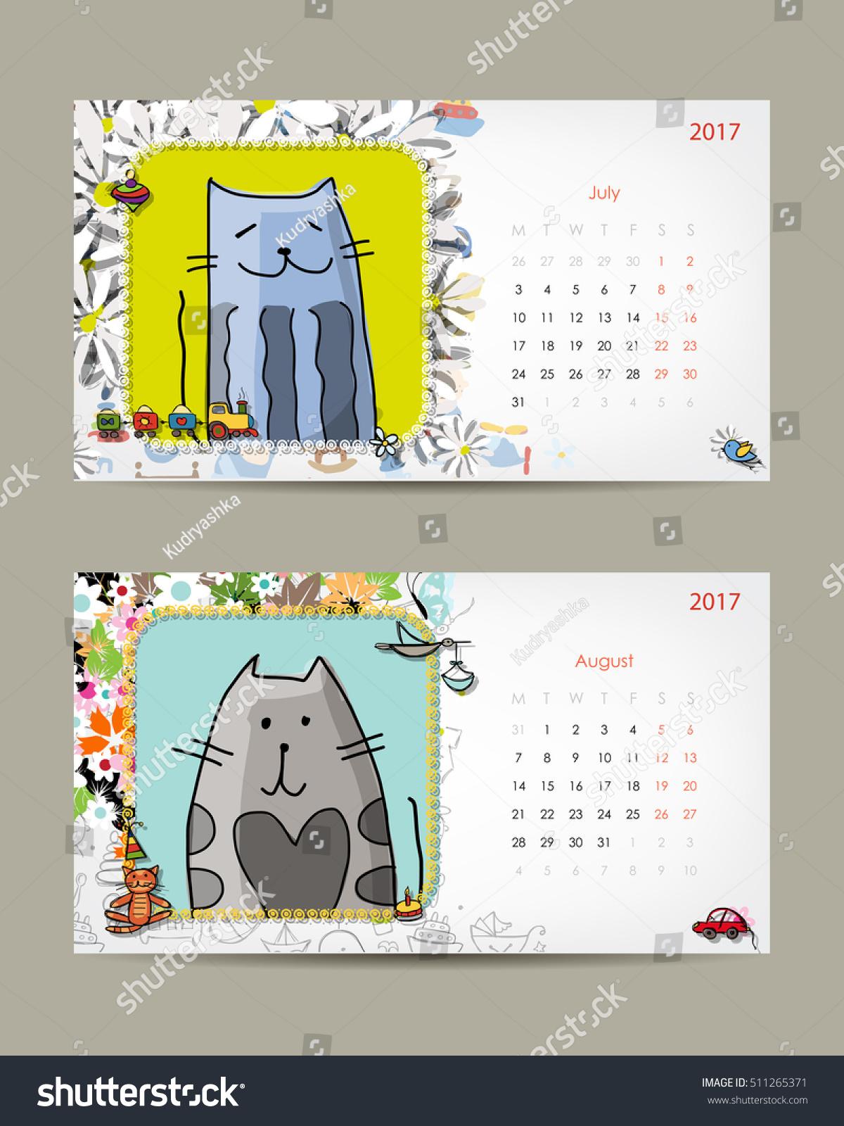 2017 Baby Calendar Template Insert Your Stock Vector 511265371