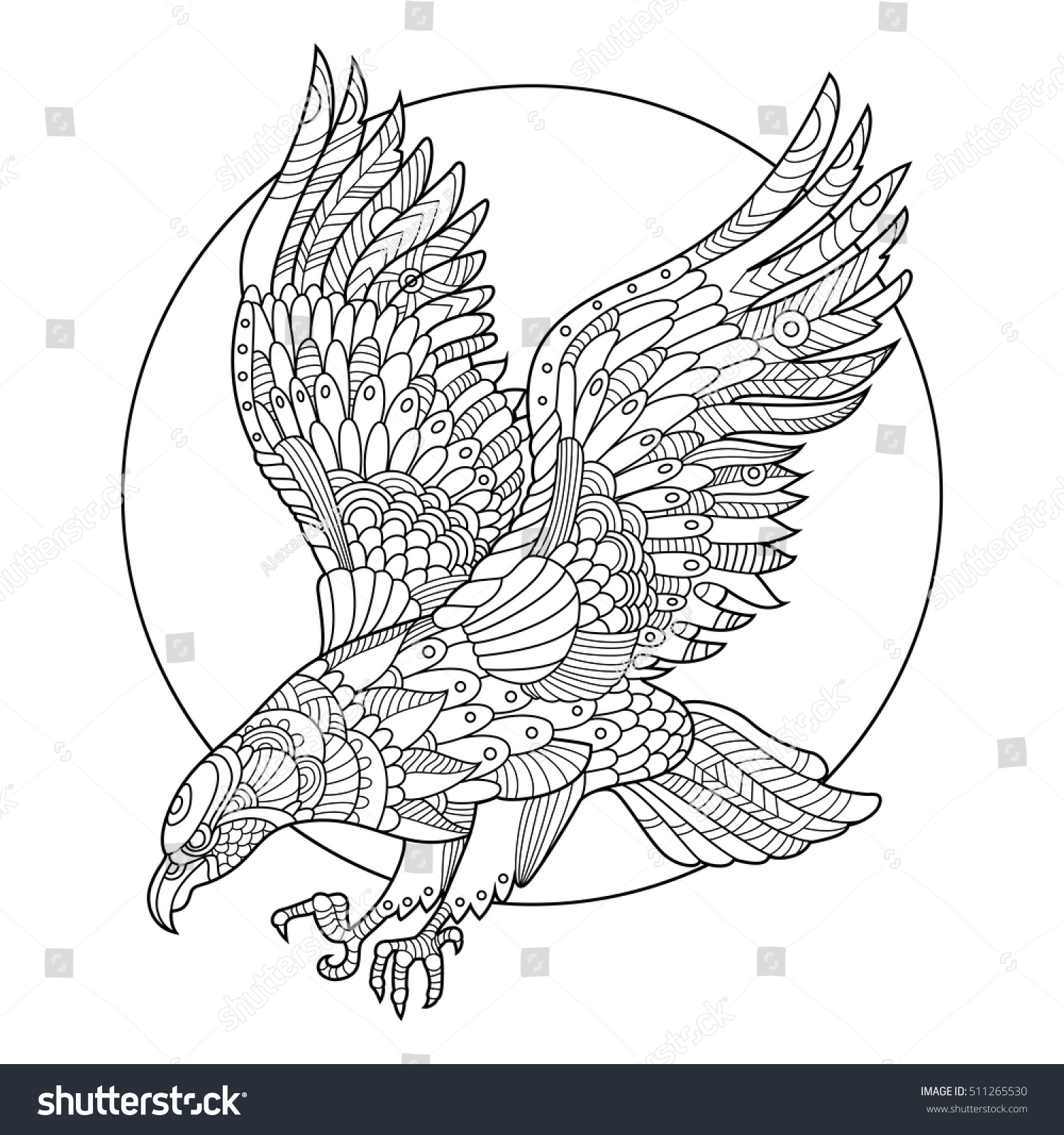 Eagle Bird Coloring Book For Adults Vector Illustration Anti Stress Adult