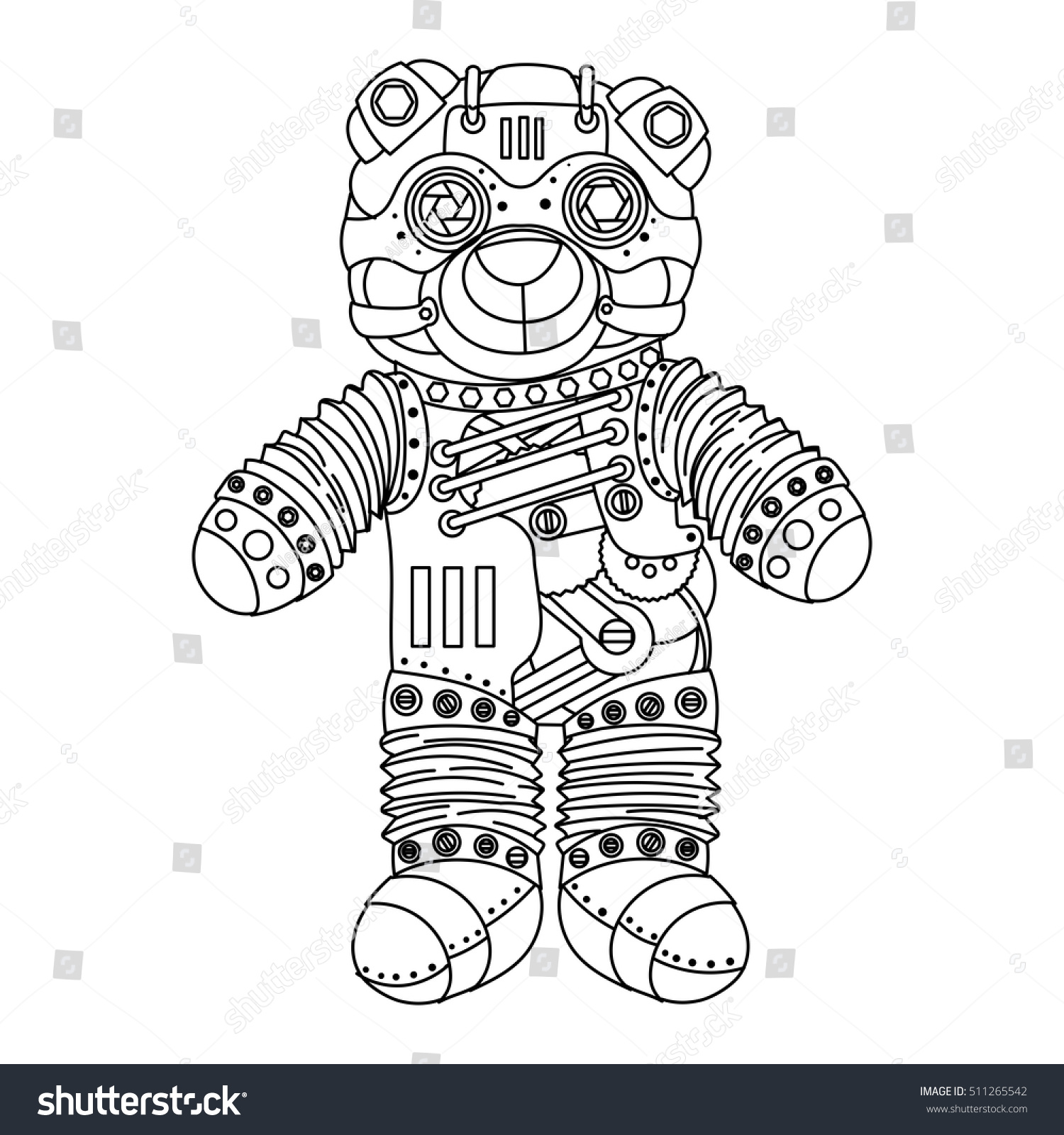 Steampunk Style Bear Mechanical Animal Coloring Book For Adult Vector Illustration