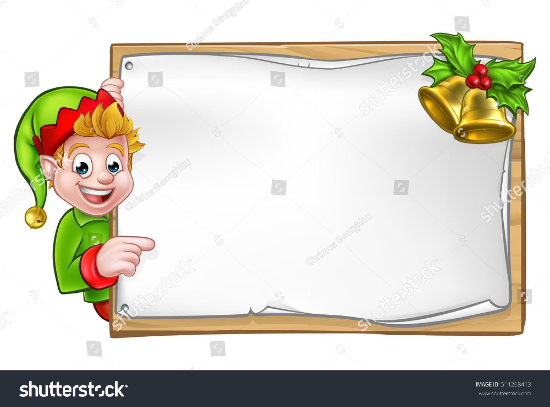 Christmas elf cartoon character peeking around stock