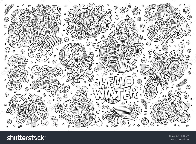 Line Art Vector Hand Drawn Doodle Cartoon Set Of Winter Season