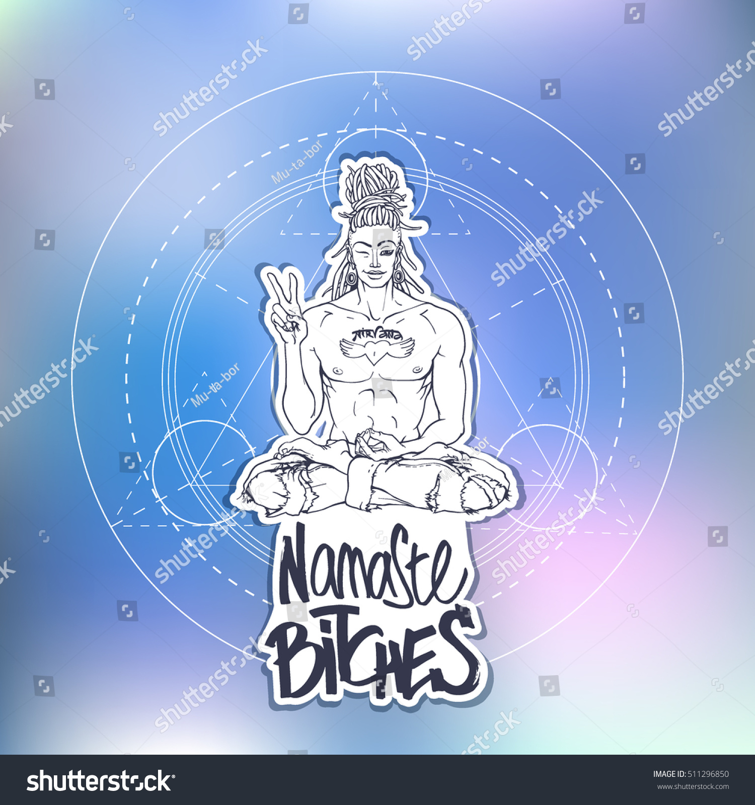 Contemporary Sexy Buddha Showing Peace Sign Stock Vector Royalty