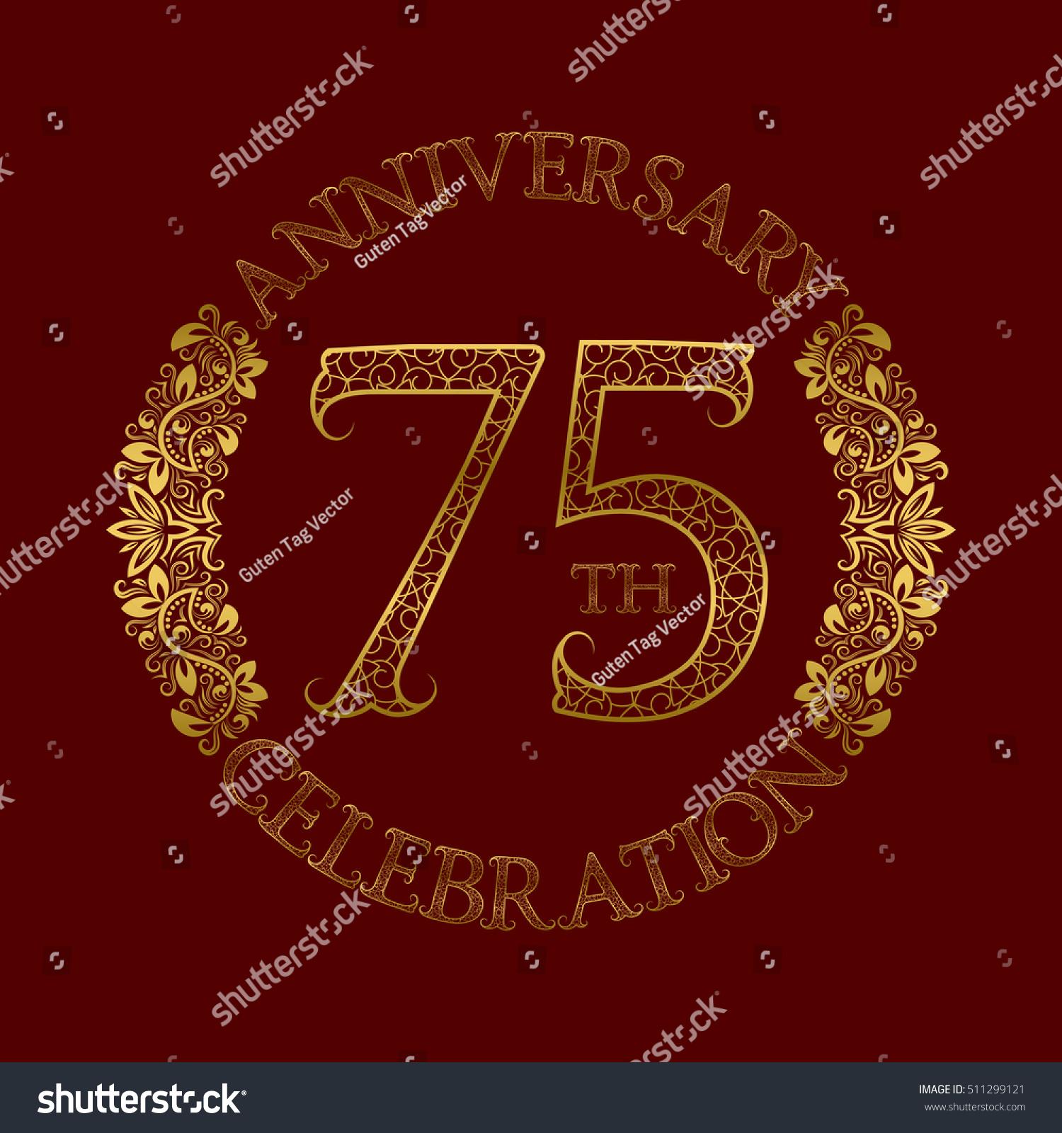 75th Anniversary Celebration Vintage Patterned Logo Stock Vector
