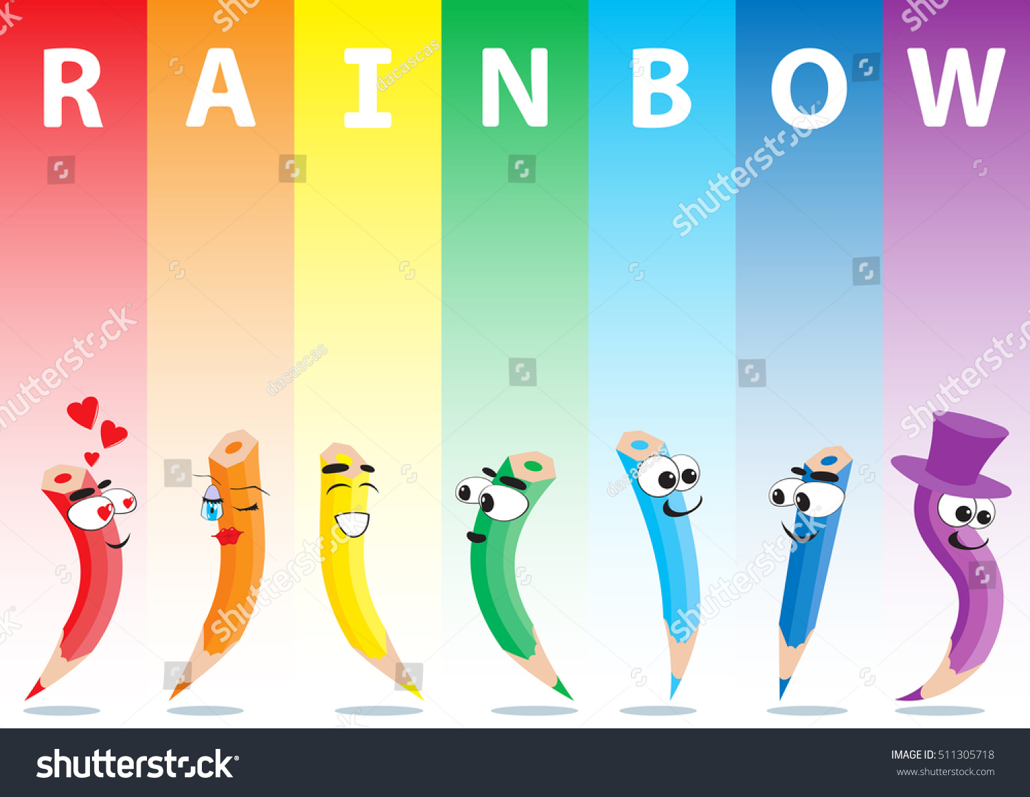 Color Pencils Set On Rainbow Background Stock Vector 511305718 ...