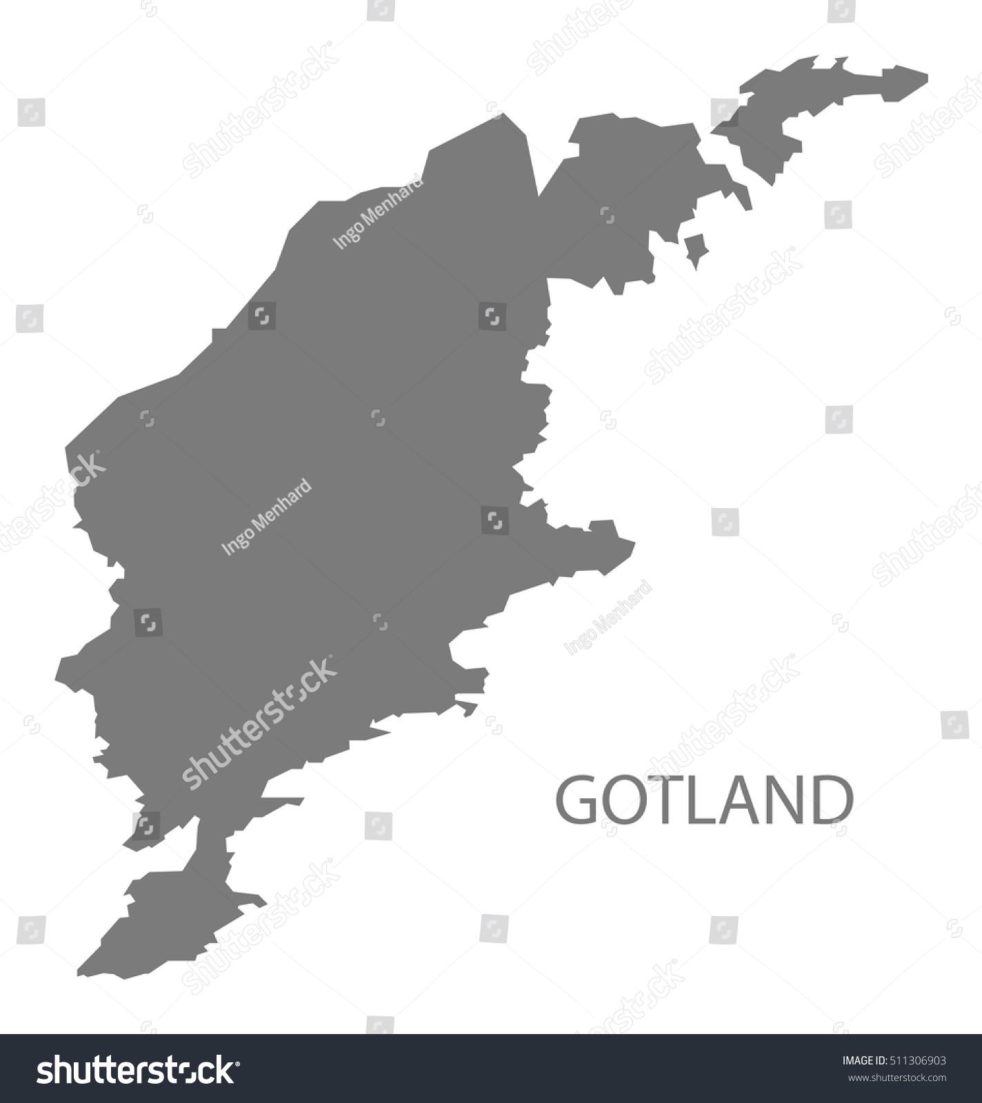Gotland Sweden Map Grey Stock Vector Shutterstock - Sweden map gotland