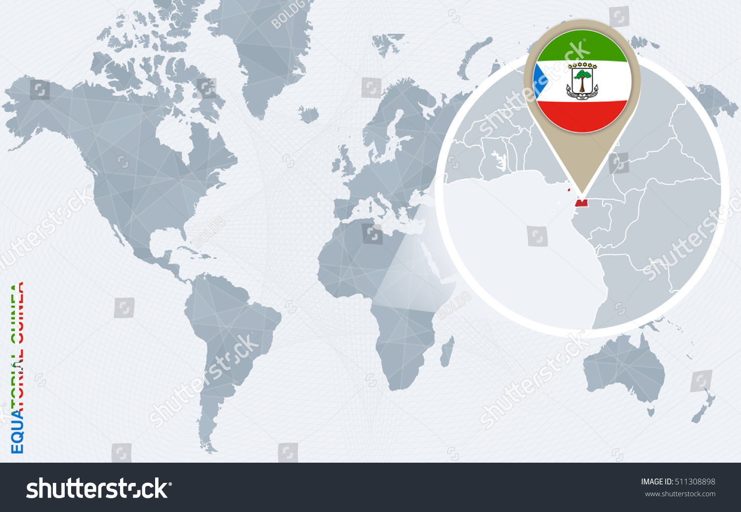 Abstract blue world map magnified equatorial stock illustration abstract blue world map with magnified equatorial guinea equatorial guinea flag and map raster gumiabroncs Images